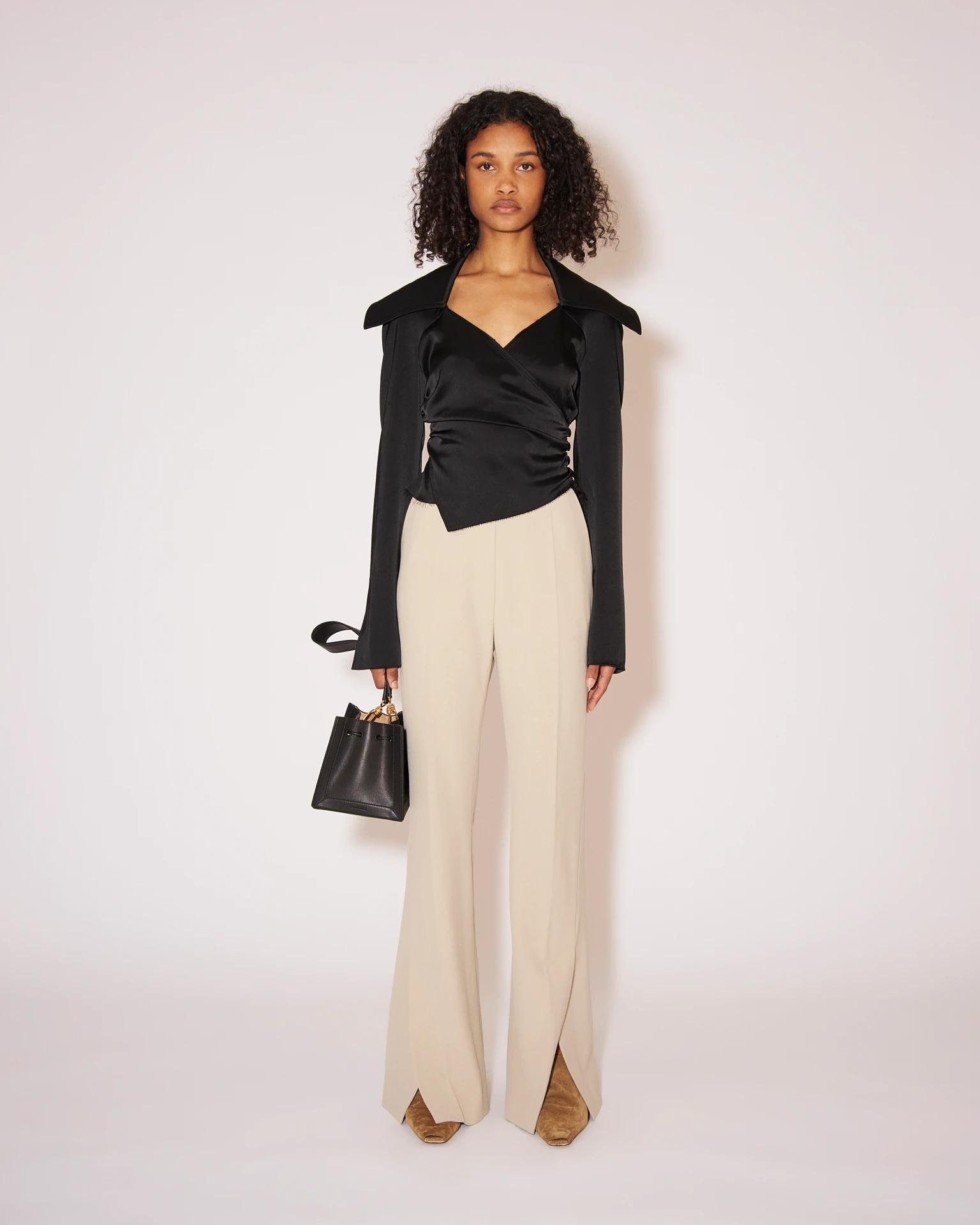 TULIP - Eco cady suiting wide-leg pants - Stone
