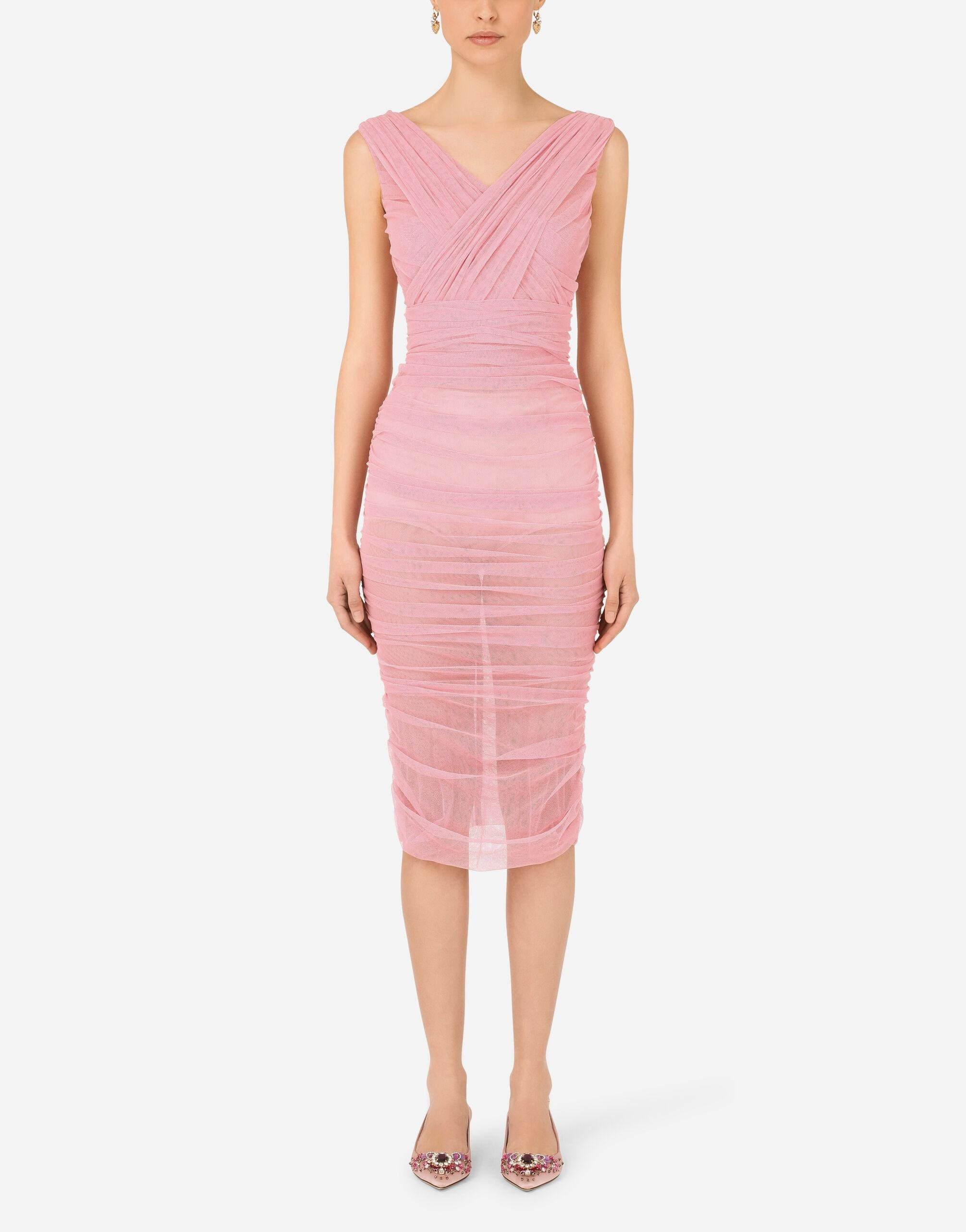 Calf-length draped dress in stretch tulle