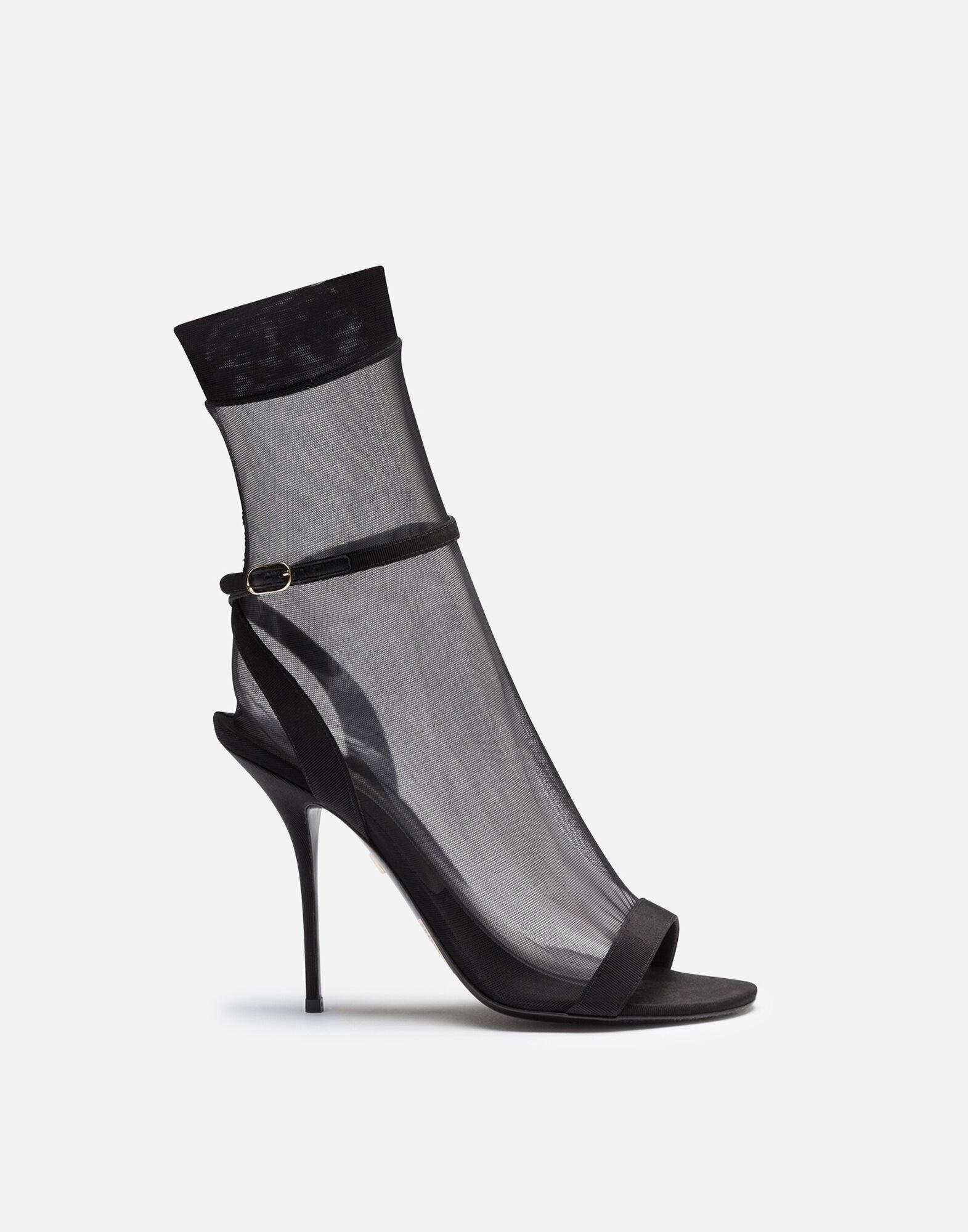 Grosgrain sandals with sock in stretch tulle