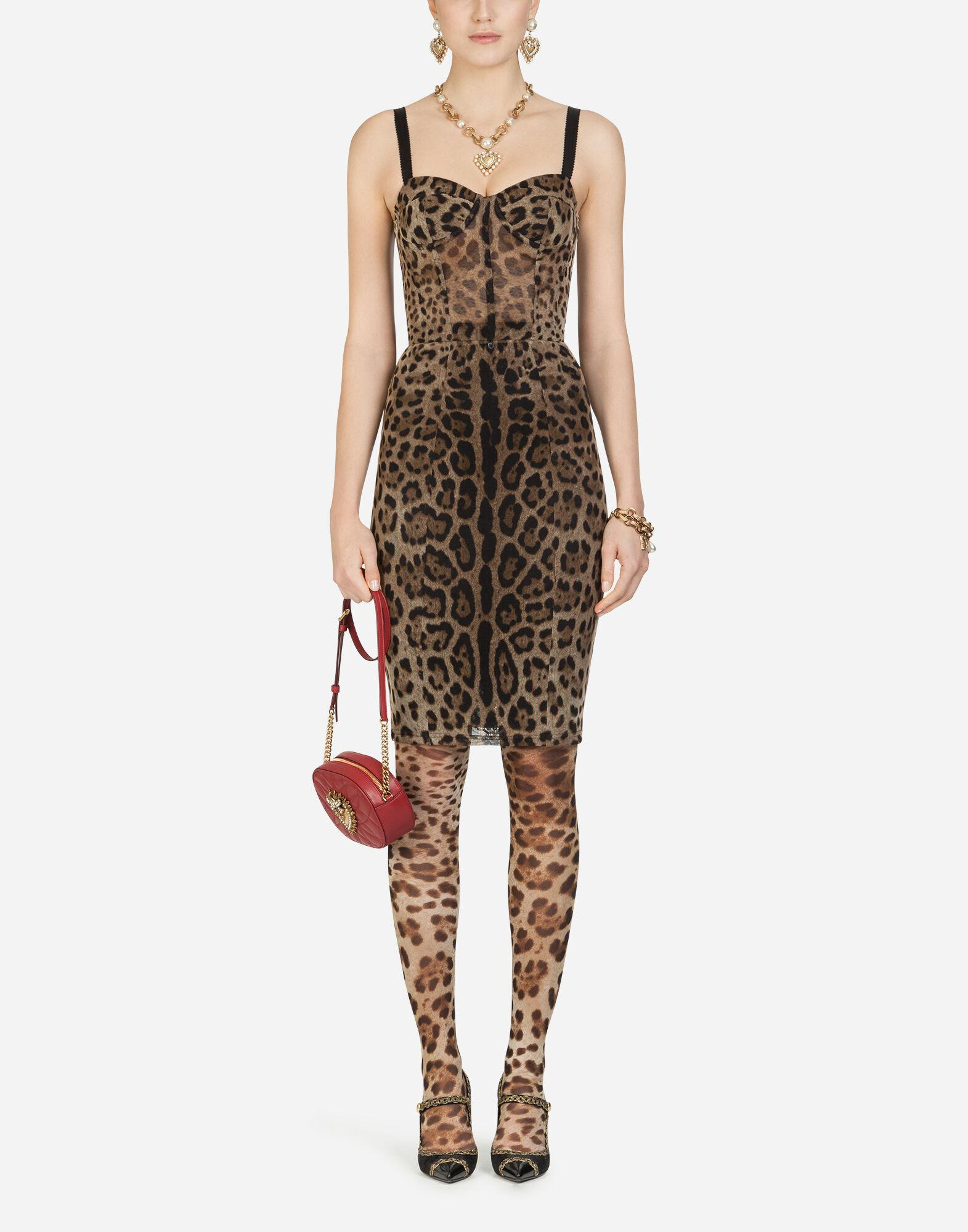 Tulle midi bustier dress with leopard print