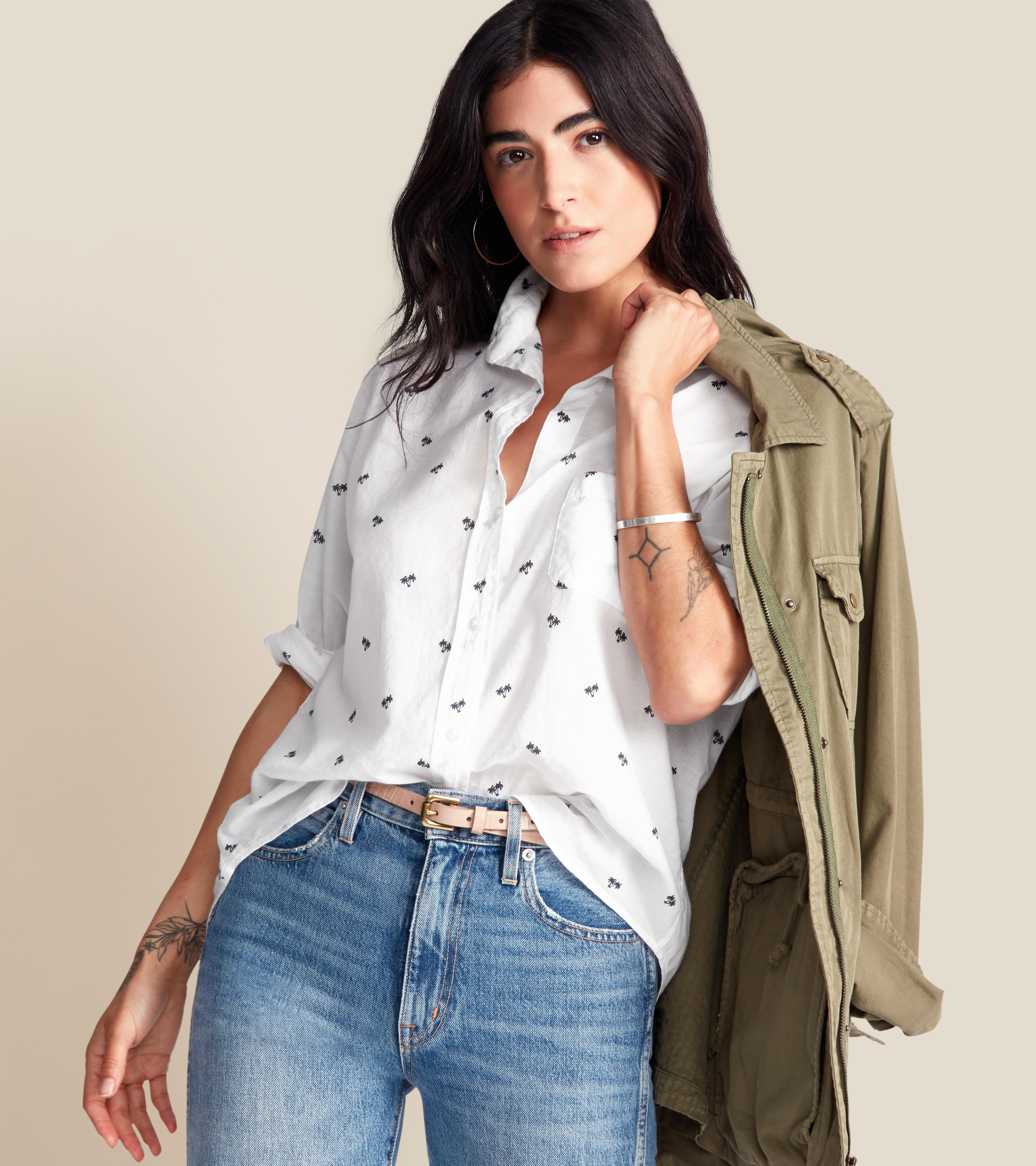 The Hero Button-Up Shirt White with Navy Palm, Tissue Cotton