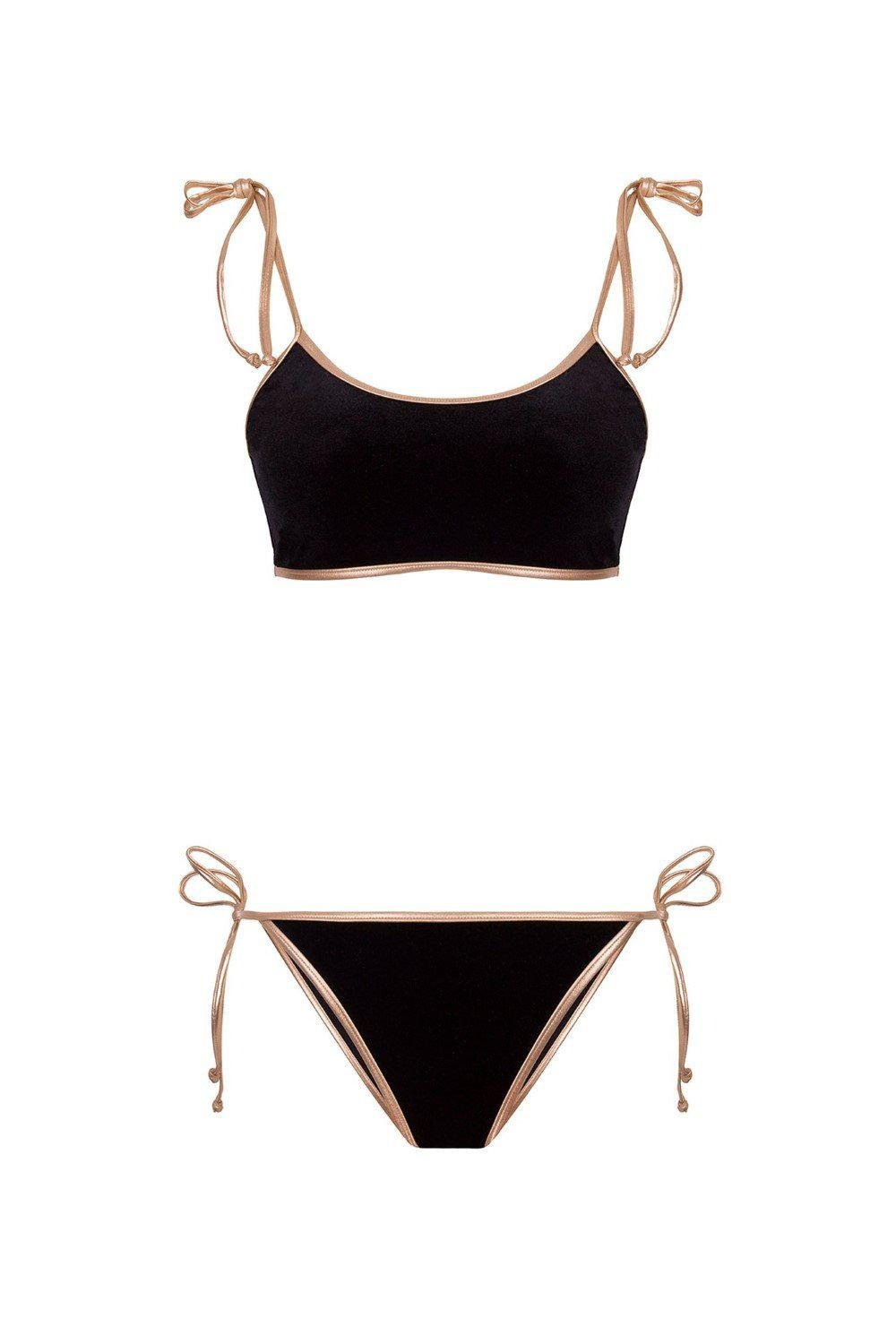 Cavaliere Velvet Bikini with Straps and Gold Detail 1