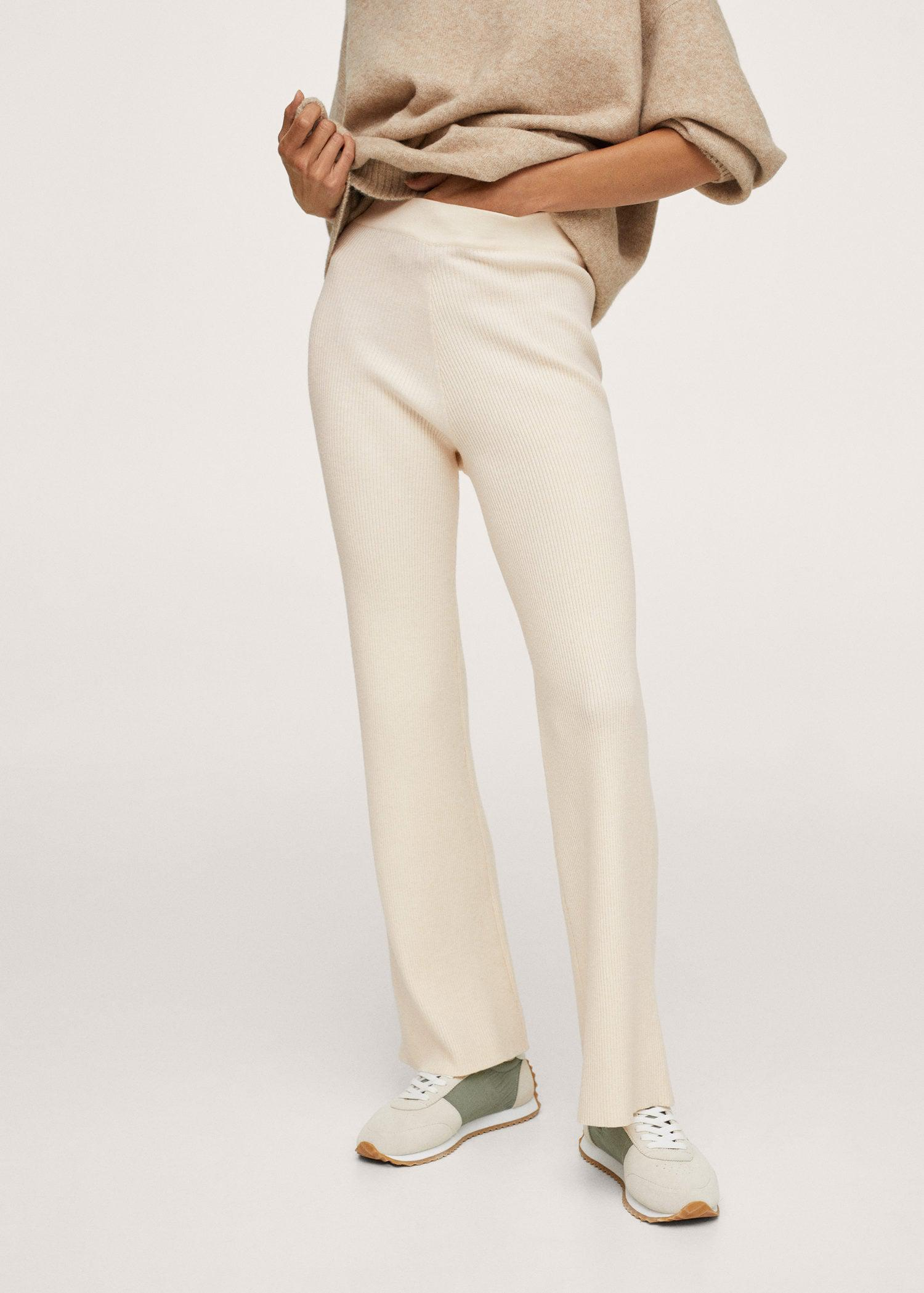 Ribbed pants with elastic waist
