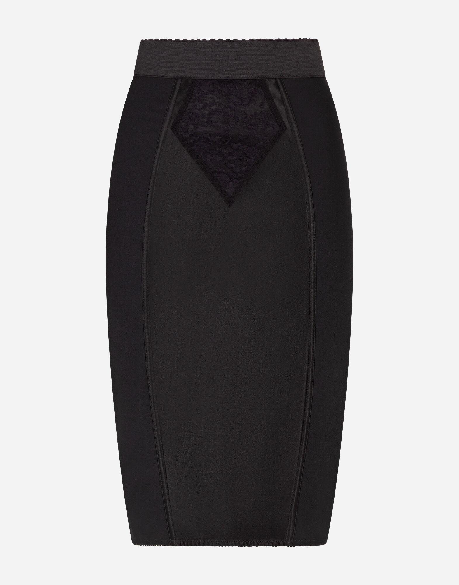 Midi skirt in powernet and satin 3