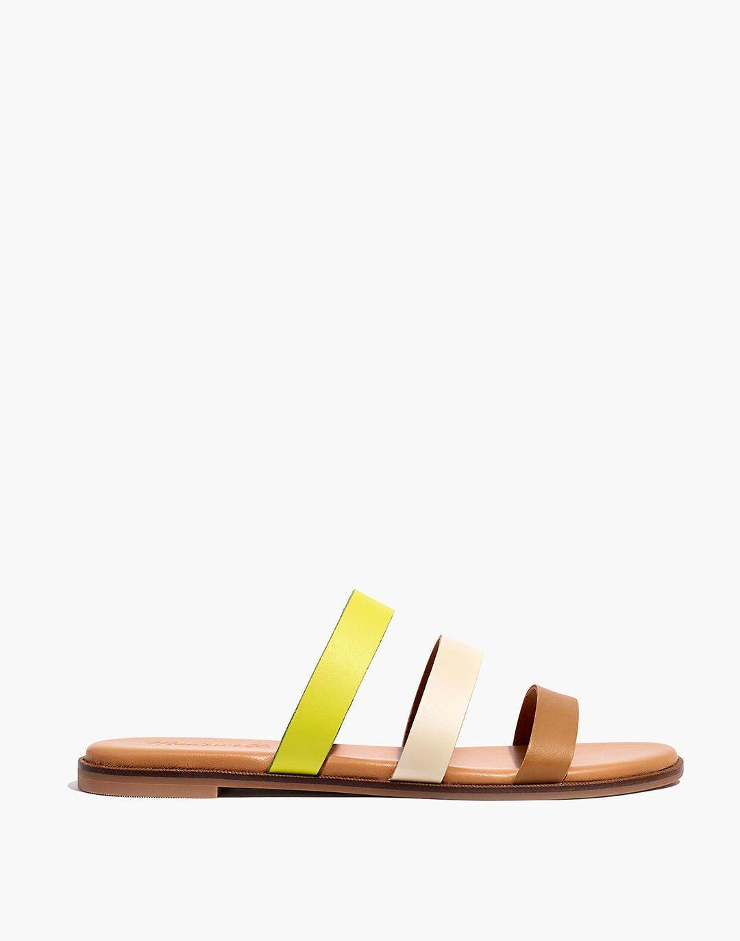 The Ilana Slide Sandal in Colorblock Leather 1