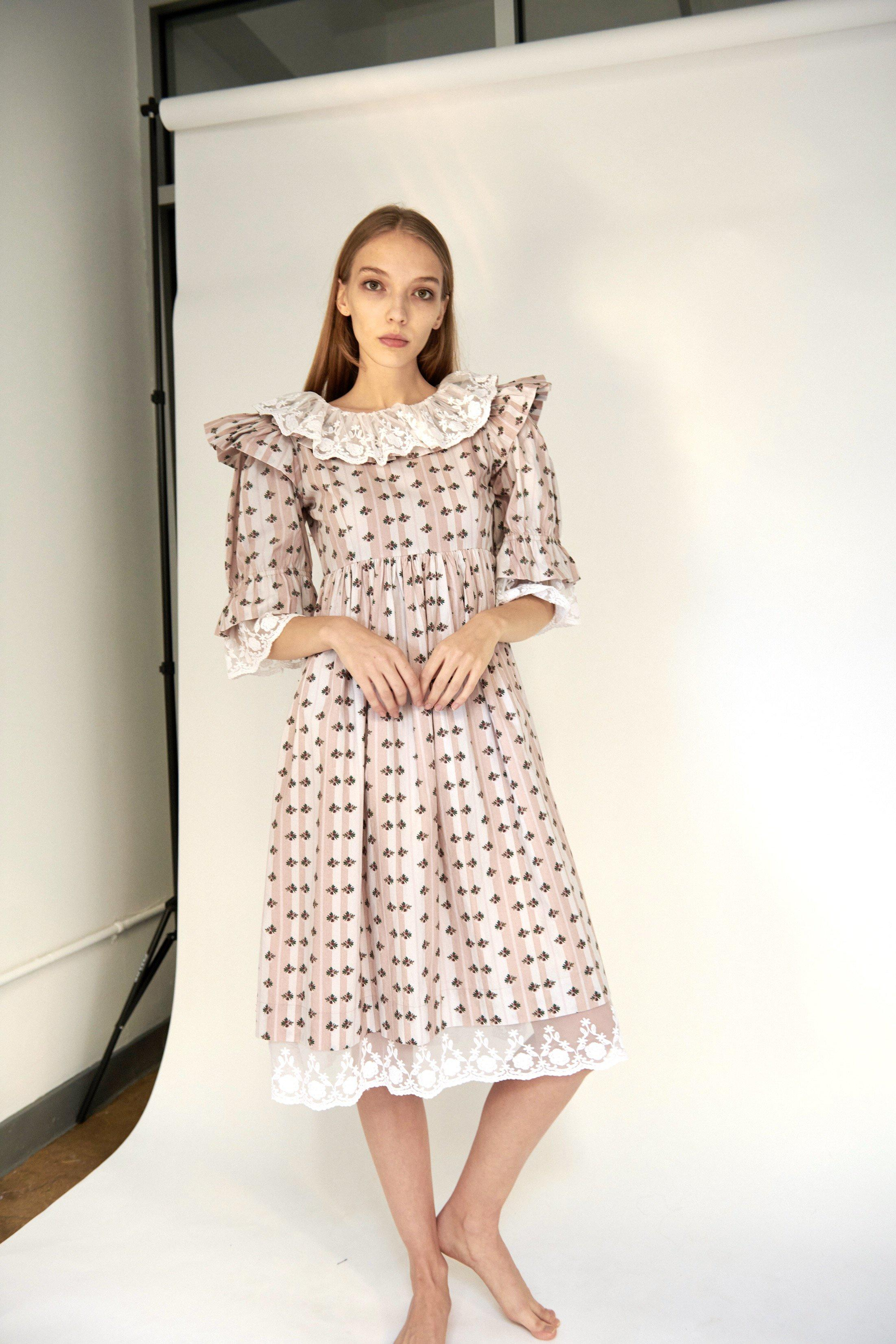Chamomile Dress in Blush Striped Floral 2