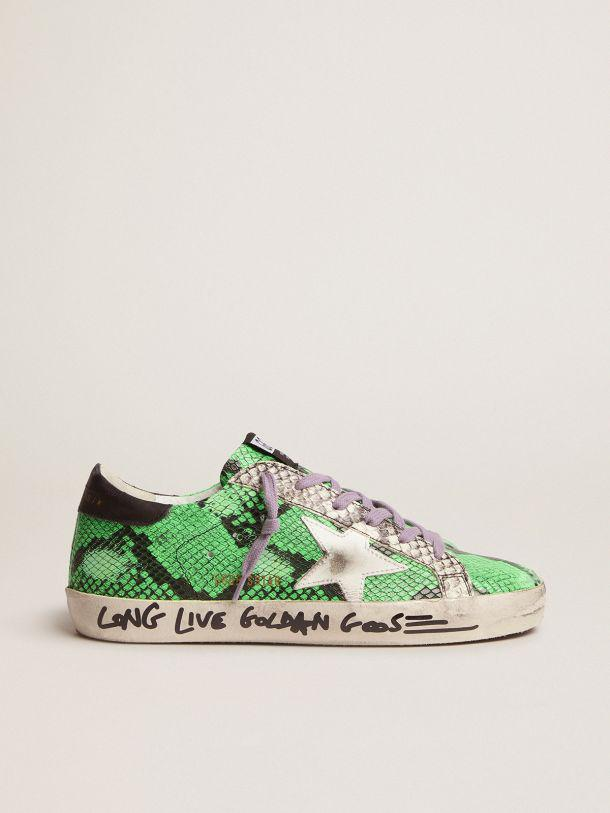 Super-Star sneakers in two-tone snake-print leather