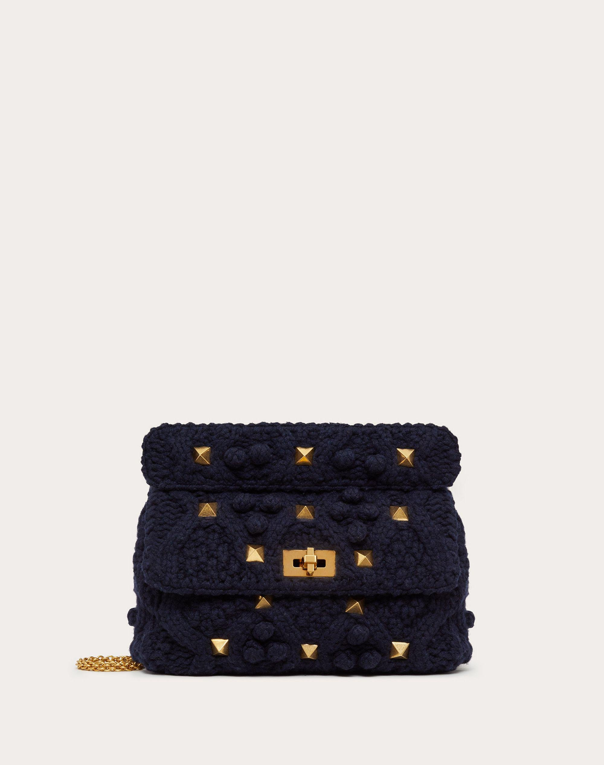 LARGE CASHMERE ROMAN STUD THE SHOULDER BAG WITH CHAIN