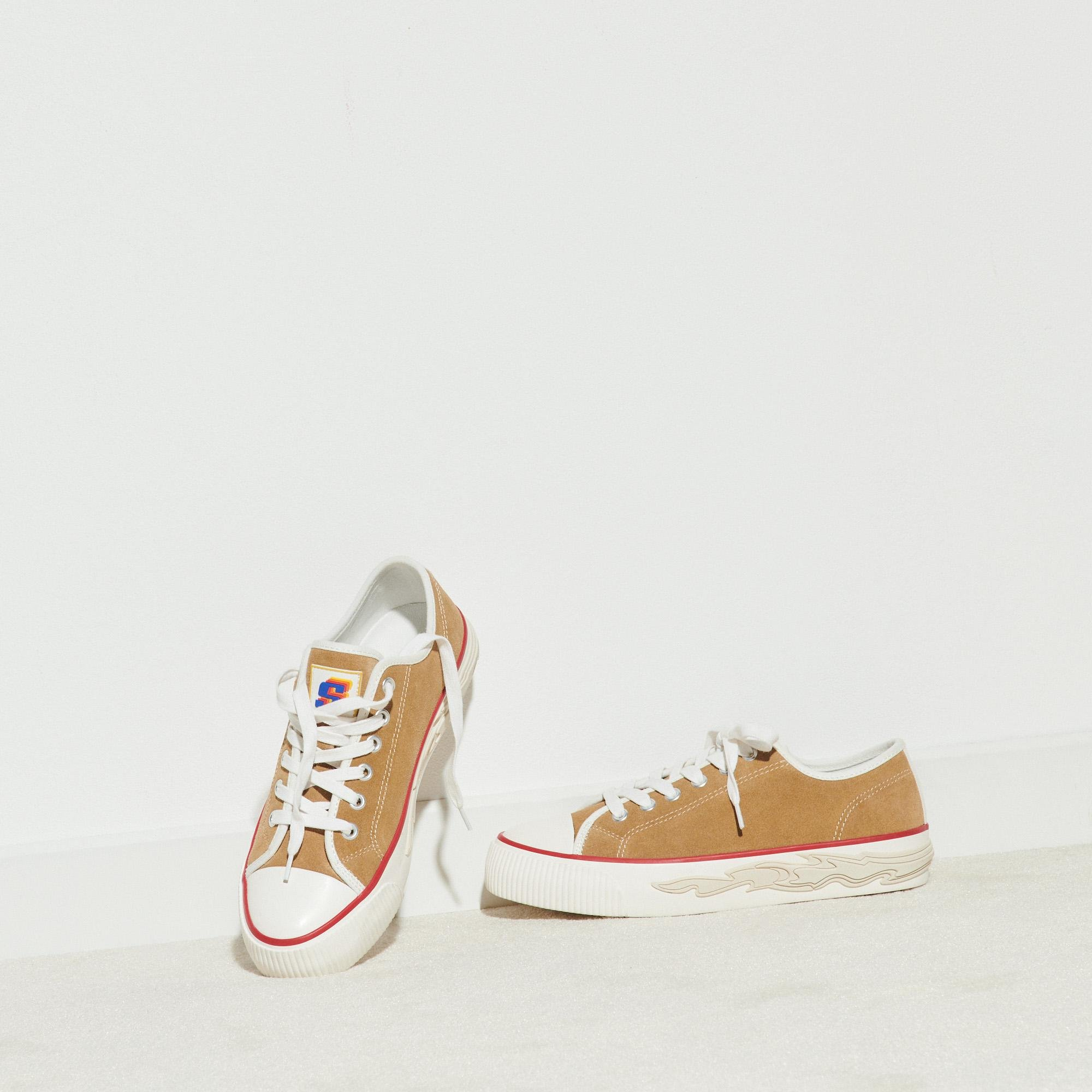 Suede sneakers with flame sole