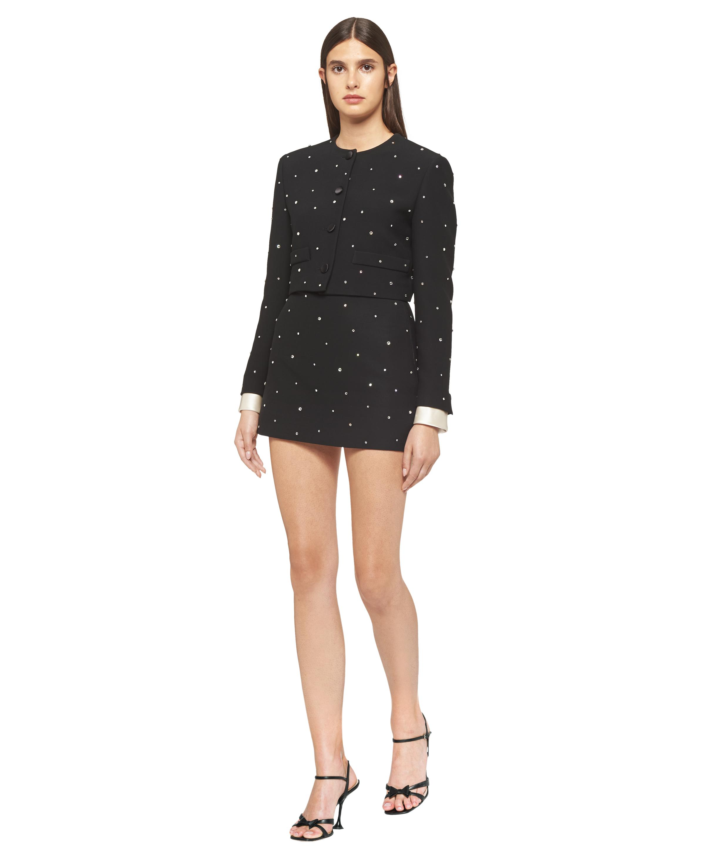 Single-breasted Embroidered Cady Jacket Women Black 1