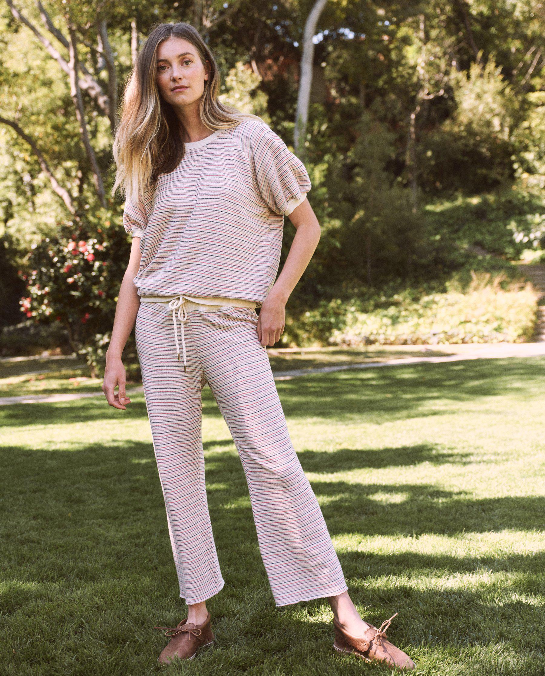 The Wide Leg Cropped Sweatpant. -- Washed White Colorful Stripe 3