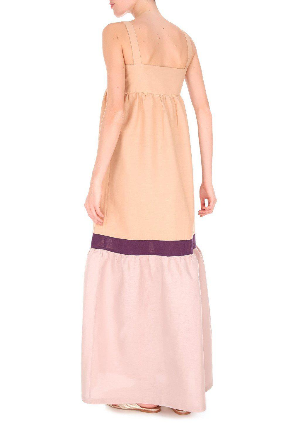 Fig Tricolor Long Dress with Straps 2