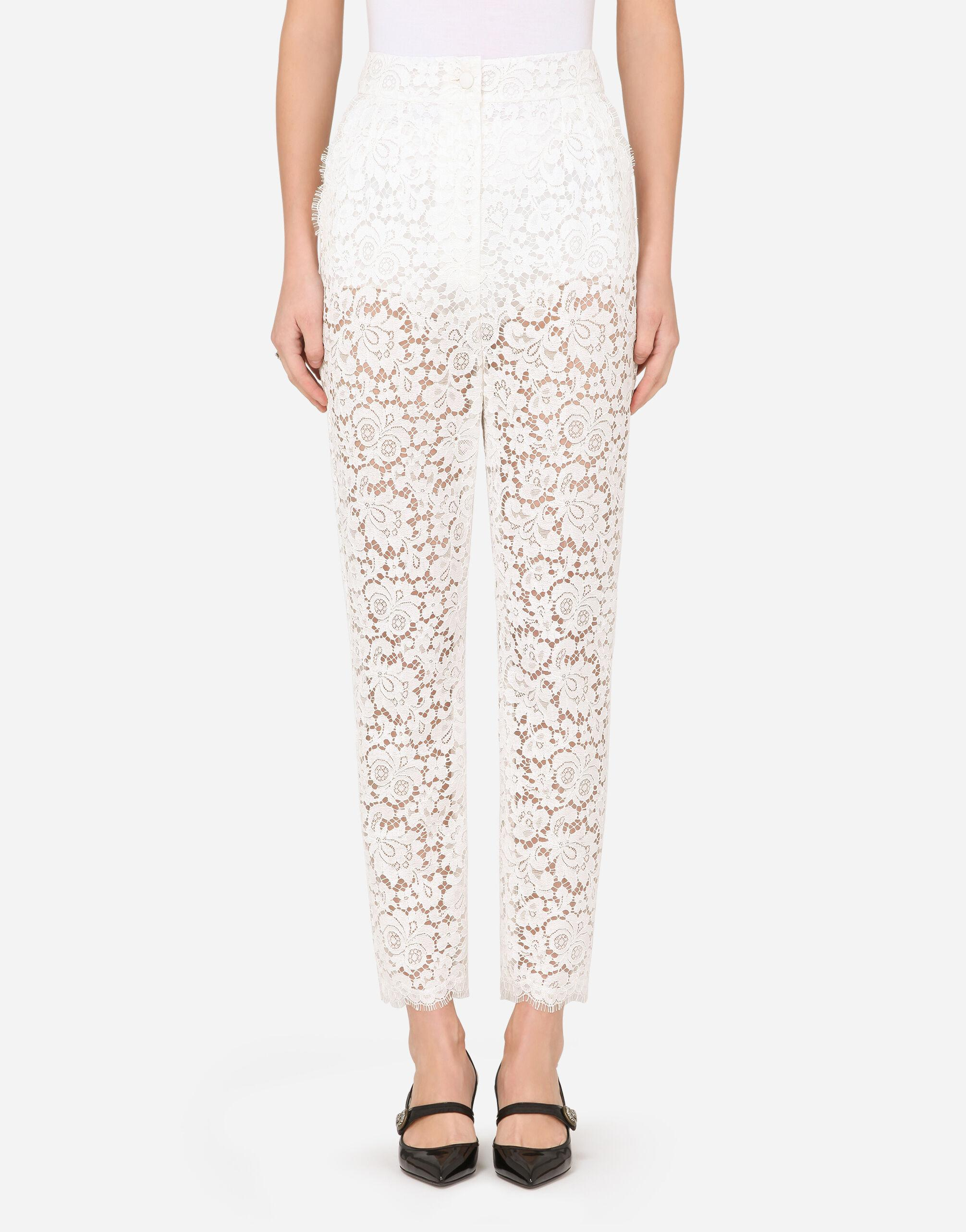 High-waisted cordonetto lace pants