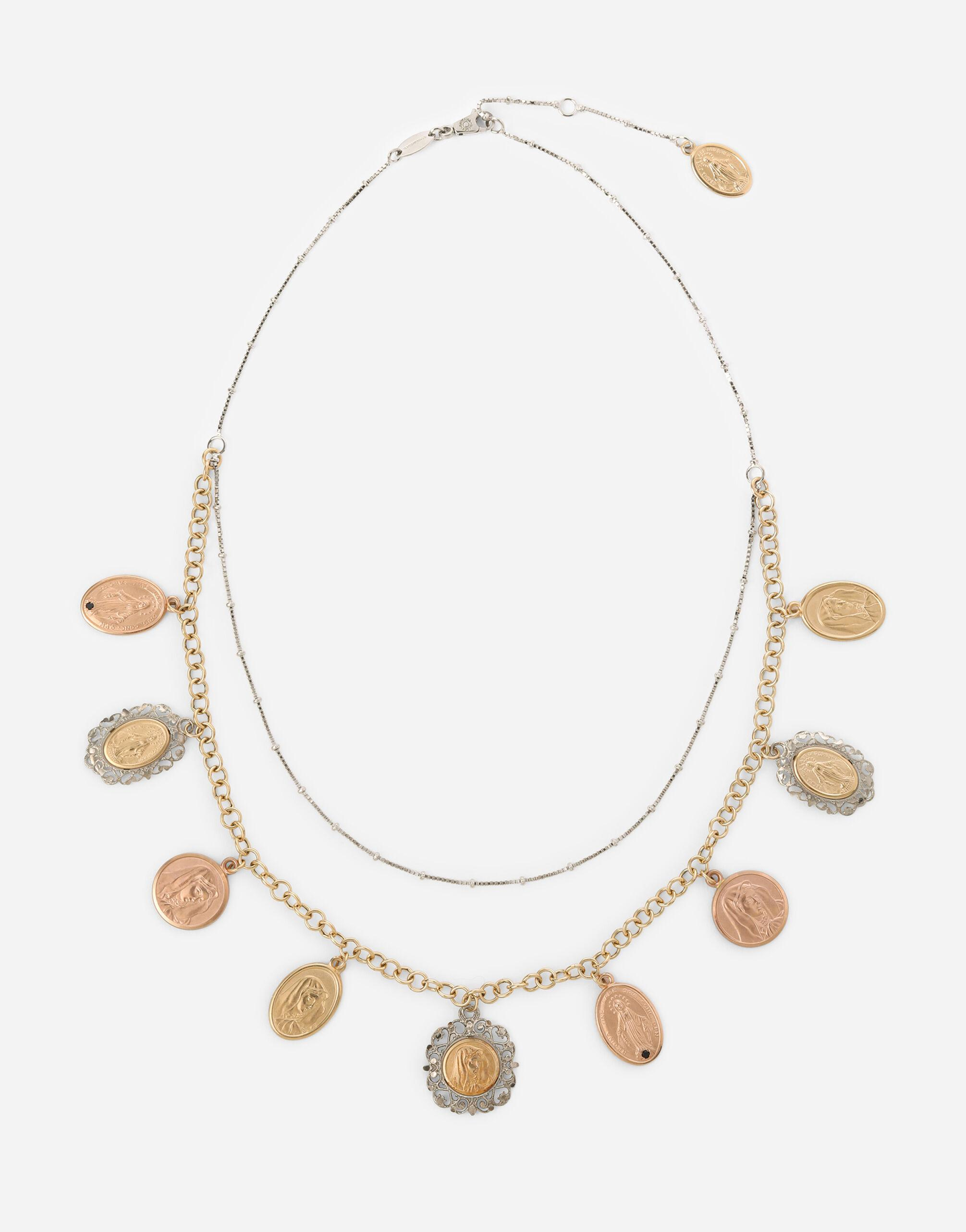 Sicily necklace in yellow, red and white 18kt gold with medals