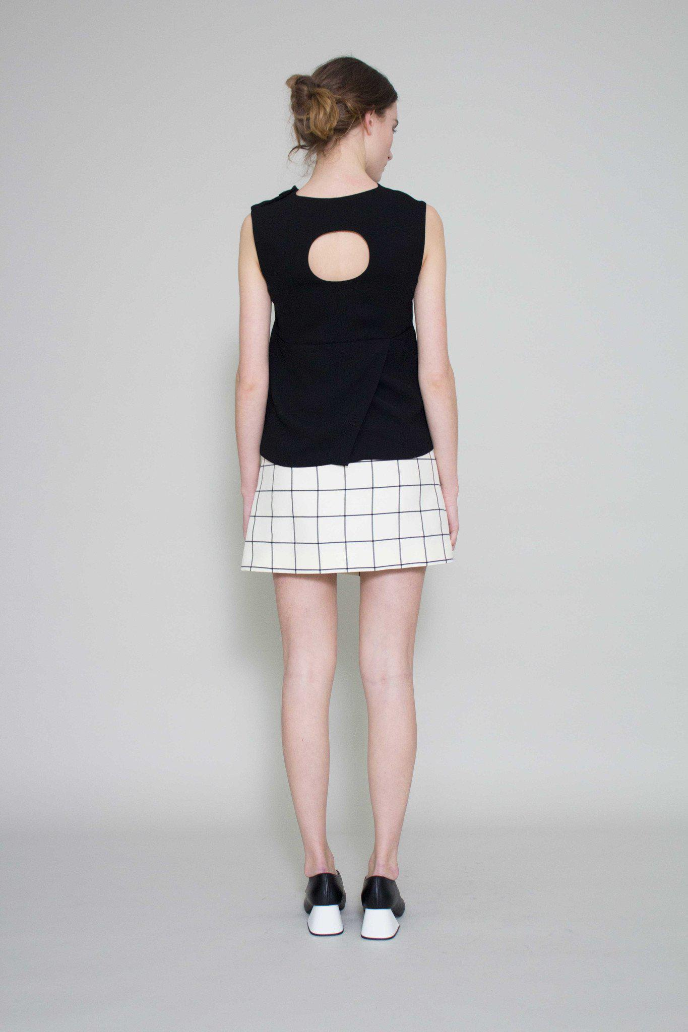Brooke Circle Cut Out Top Black - SPECIAL PRICE