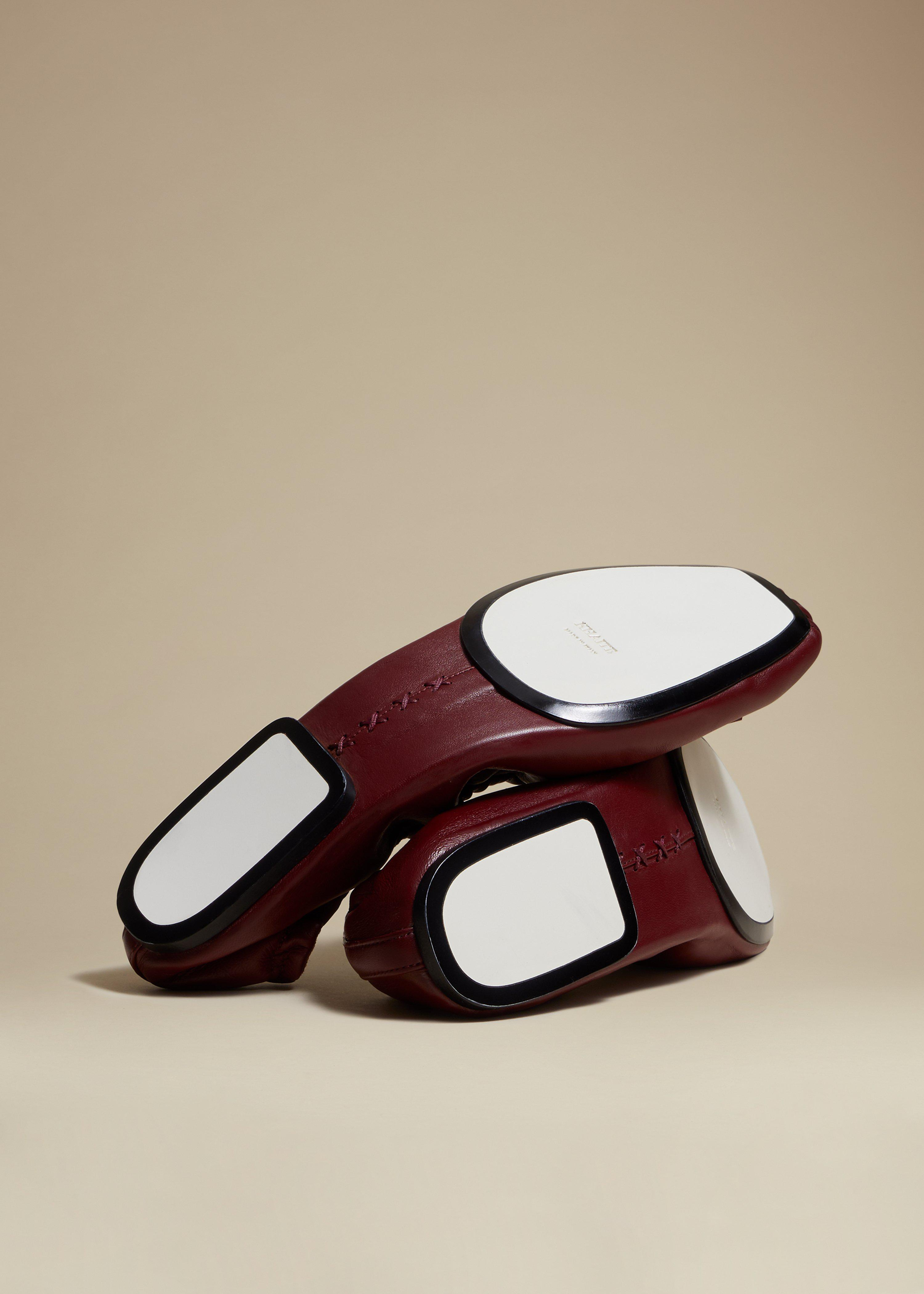The Ashland Ballet Flat in Bordeaux Leather 2