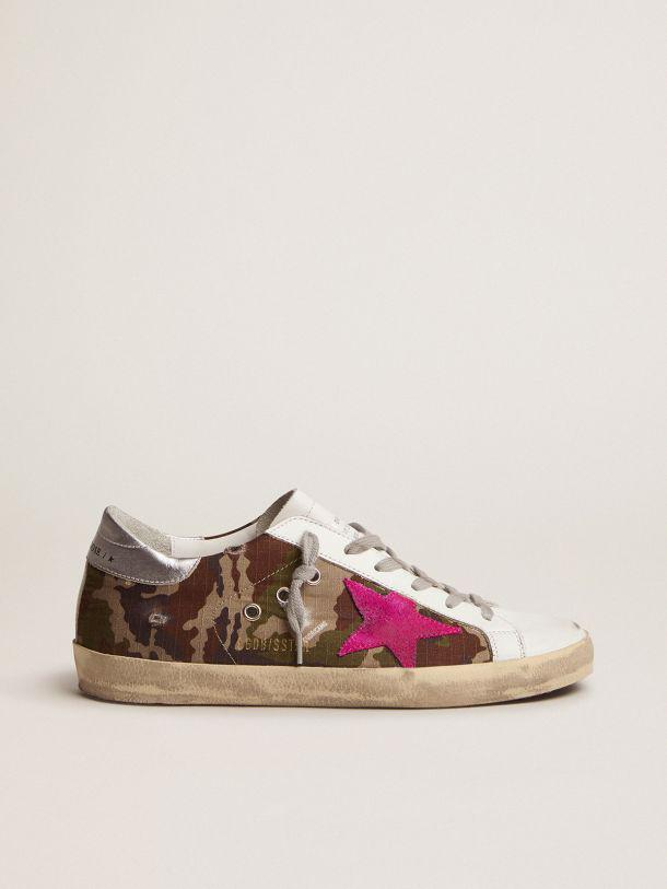 Super-Star sneakers with camouflage pattern and fuchsia star
