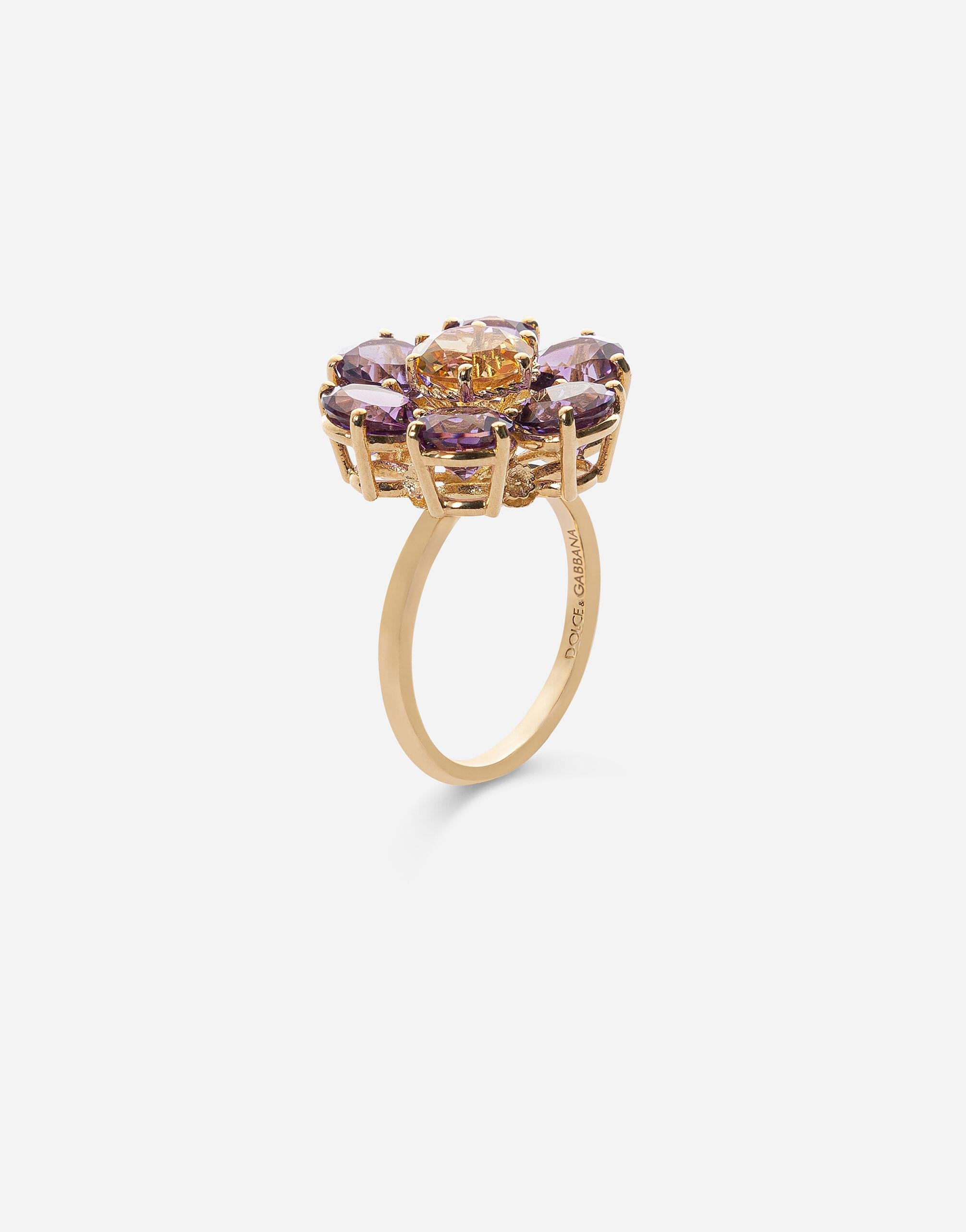 Spring ring in yellow 18kt gold with amethyst floral motif 1