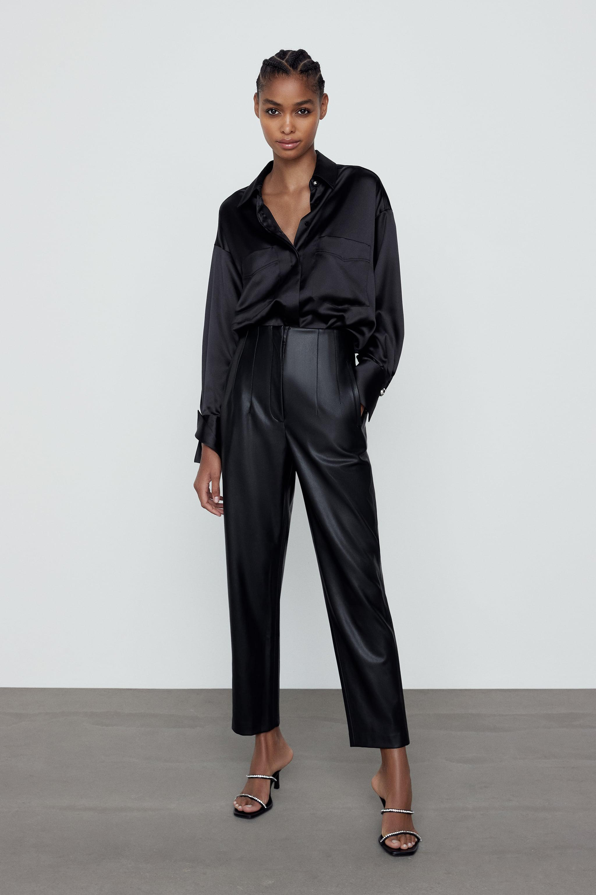 FAUX LEATHER HIGH-WAISTED PANTS