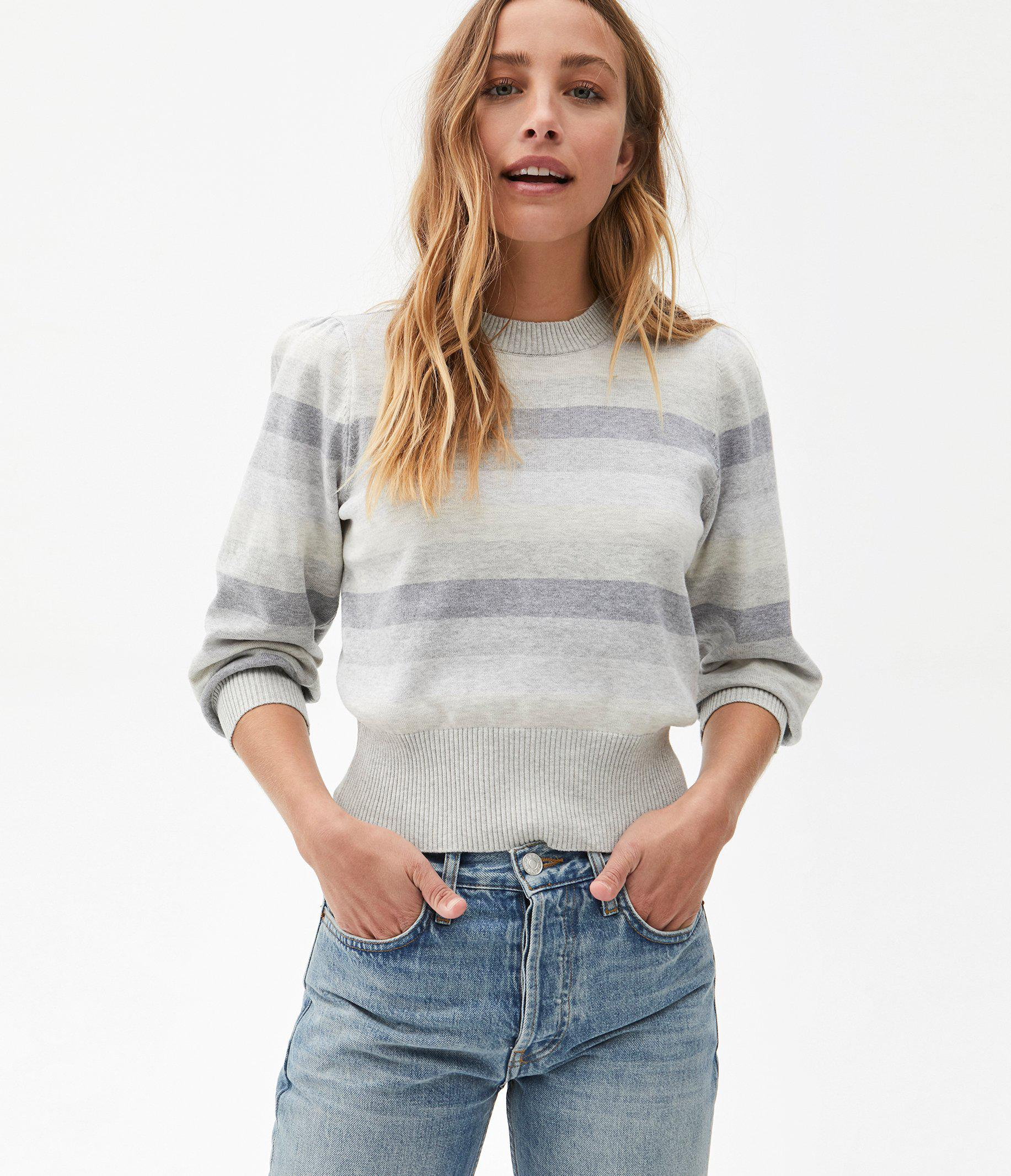Dolly Striped Puff Sleeve Sweater