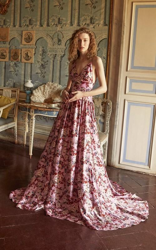 Angelica Pink Floral Satin Gown