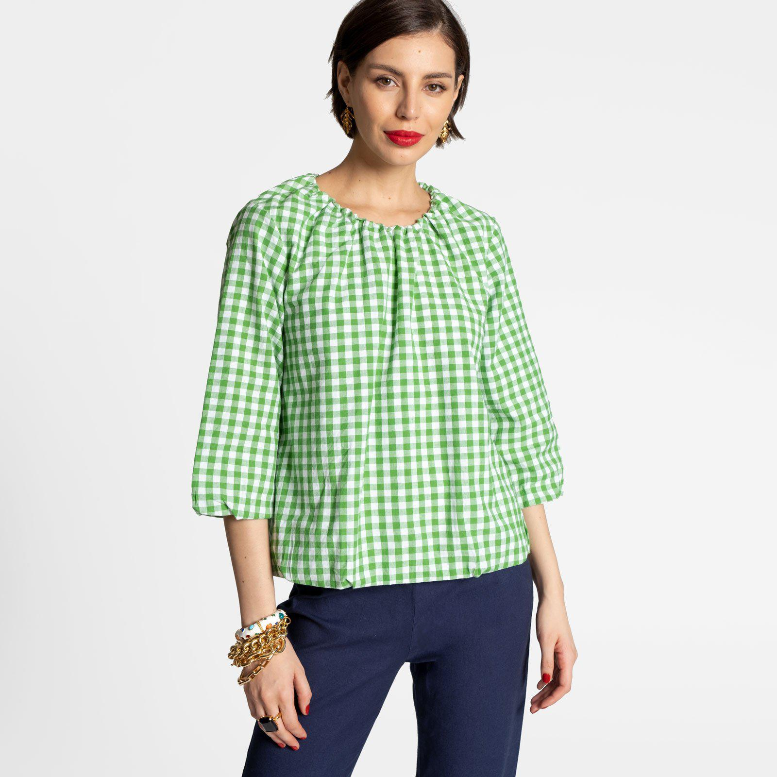 Emily Ruched Top Green Gingham