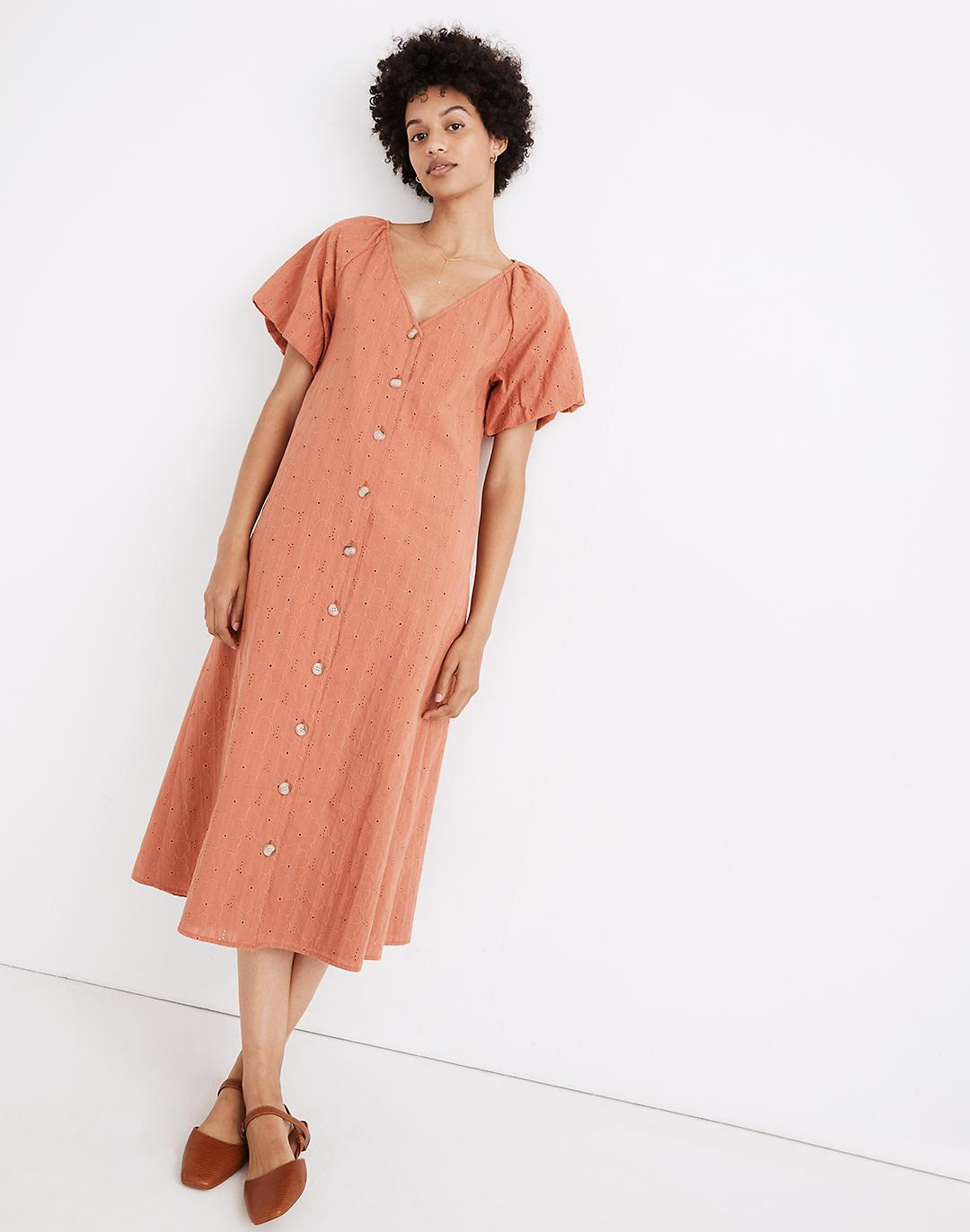 Embroidered Eyelet Bubble-Sleeve Button-Front Midi Dress