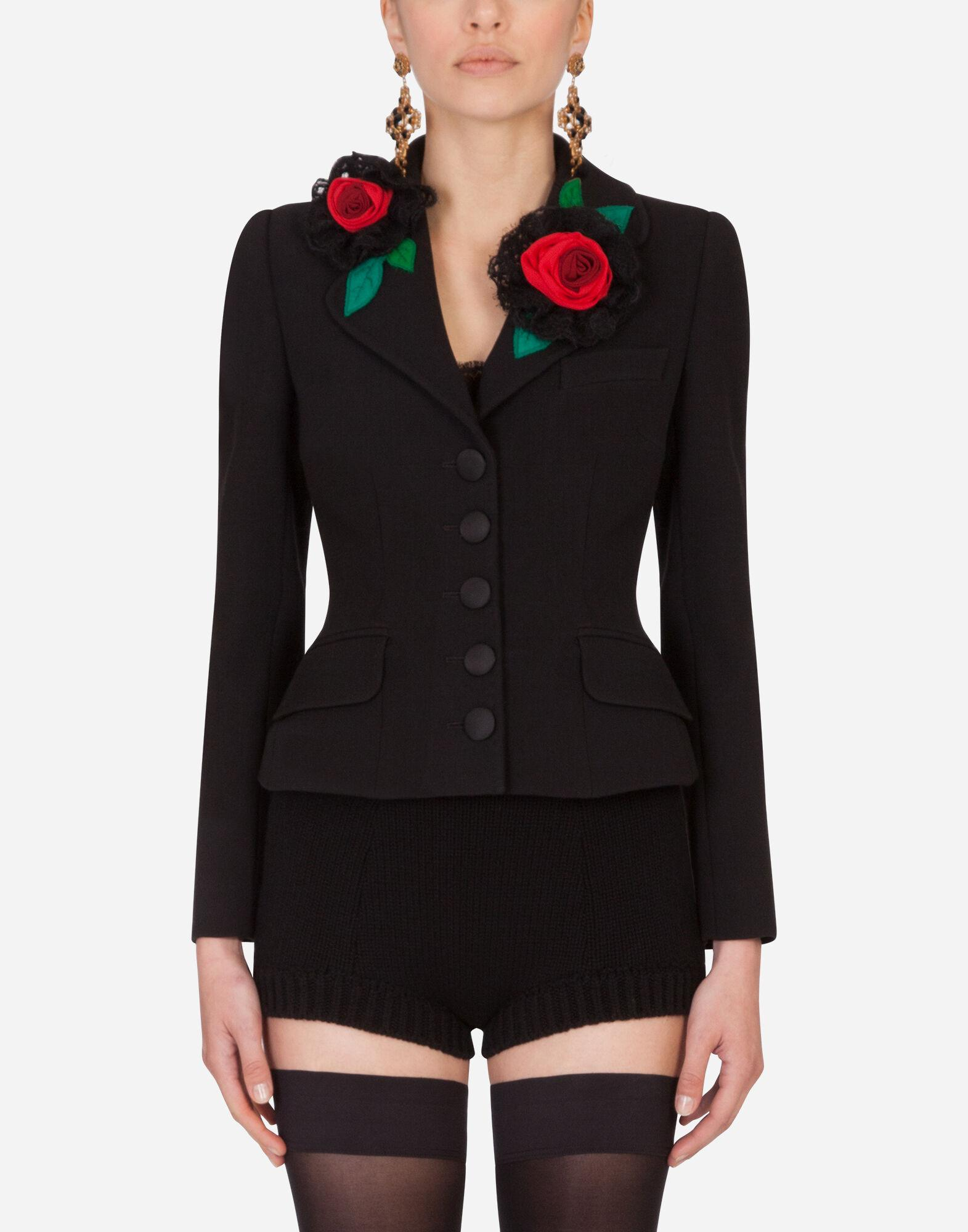 Short single-breasted Dolce jacket with rose appliqués