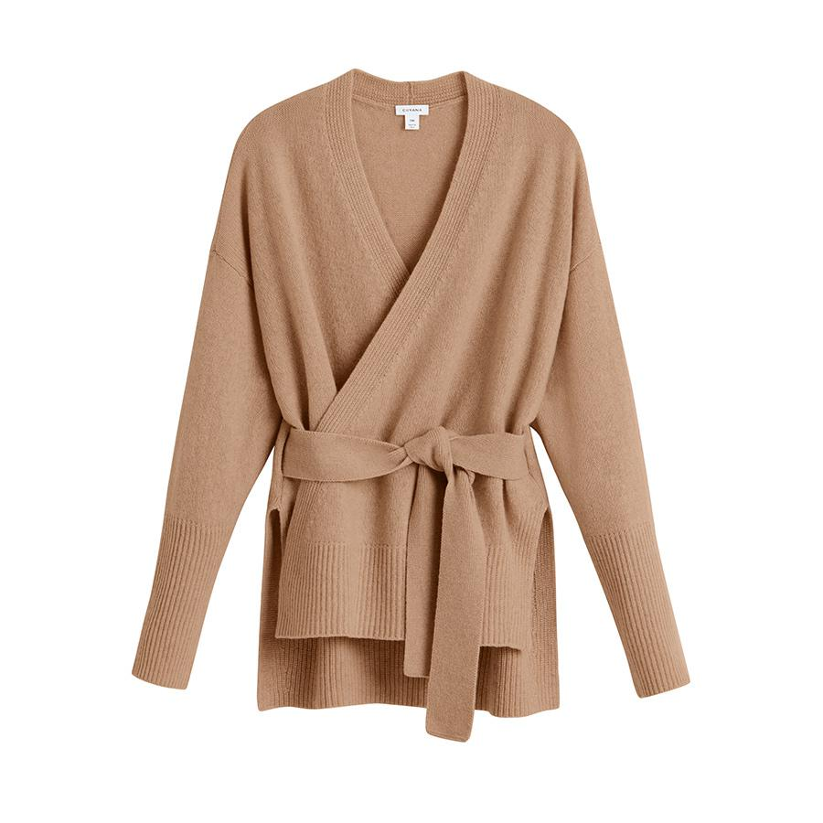 Women's Recycled Soft Wrap Sweater in Camel   Size:
