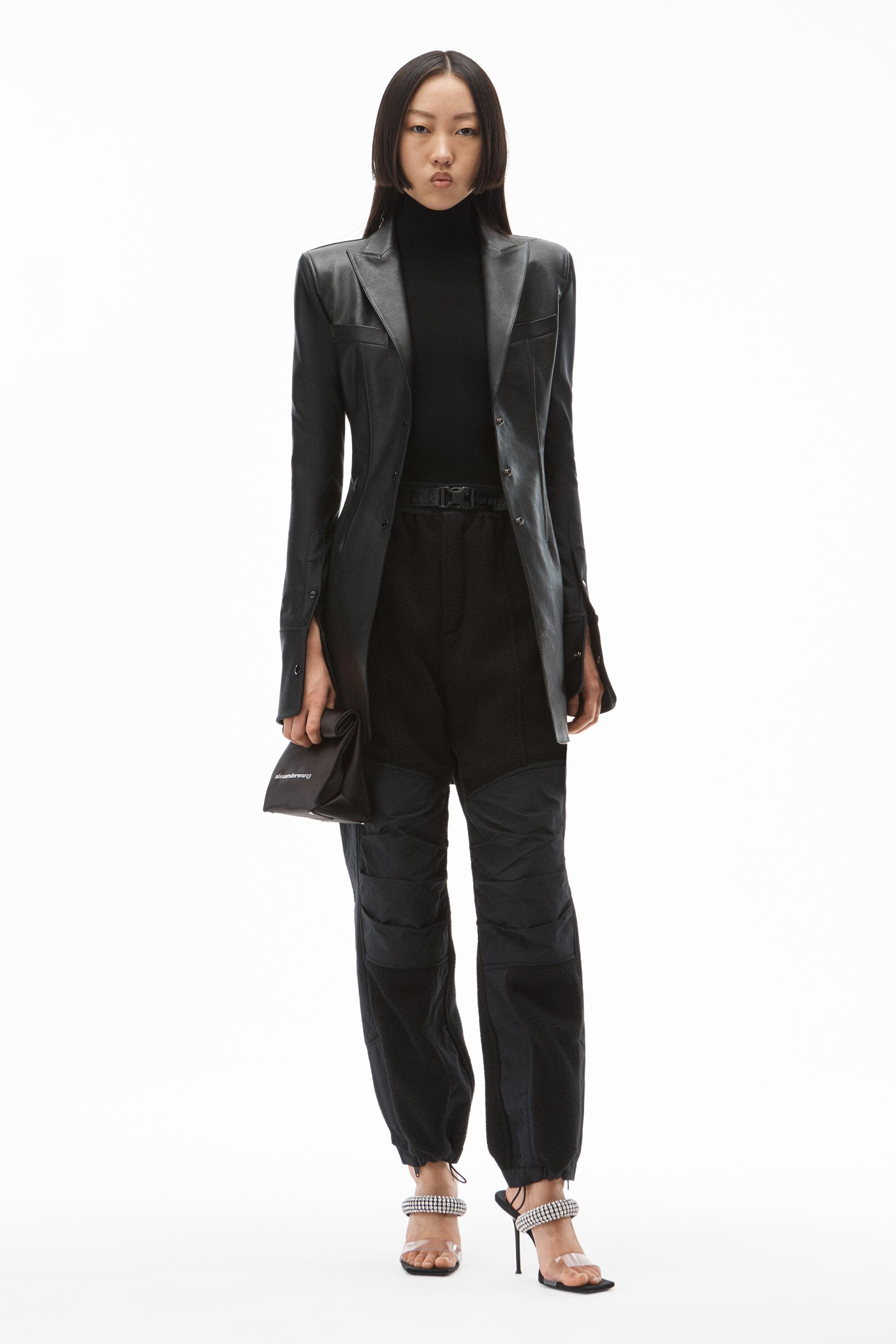 peak lapel blazer in leather and active stretch