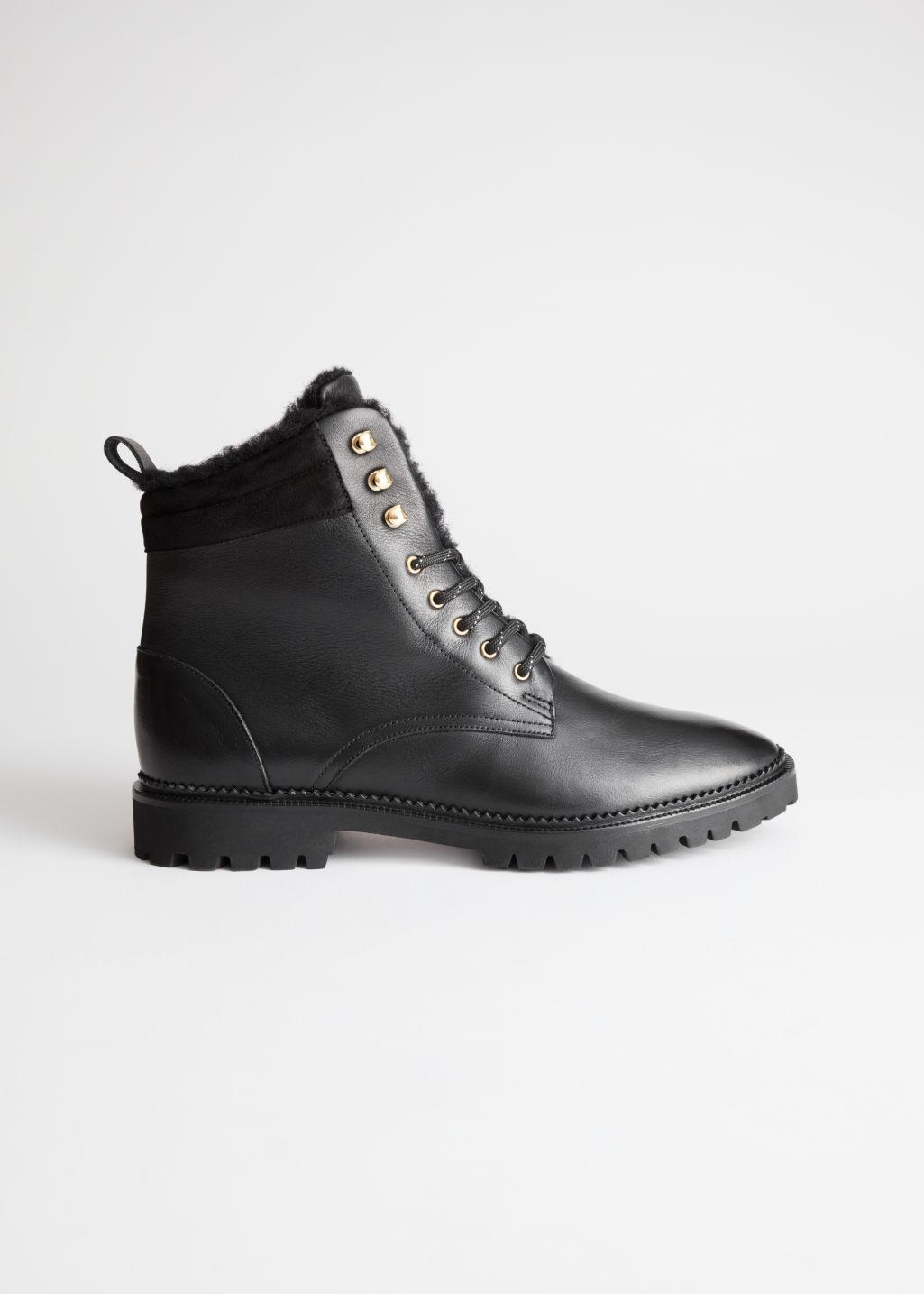 Leather Lace Up Snow Boots