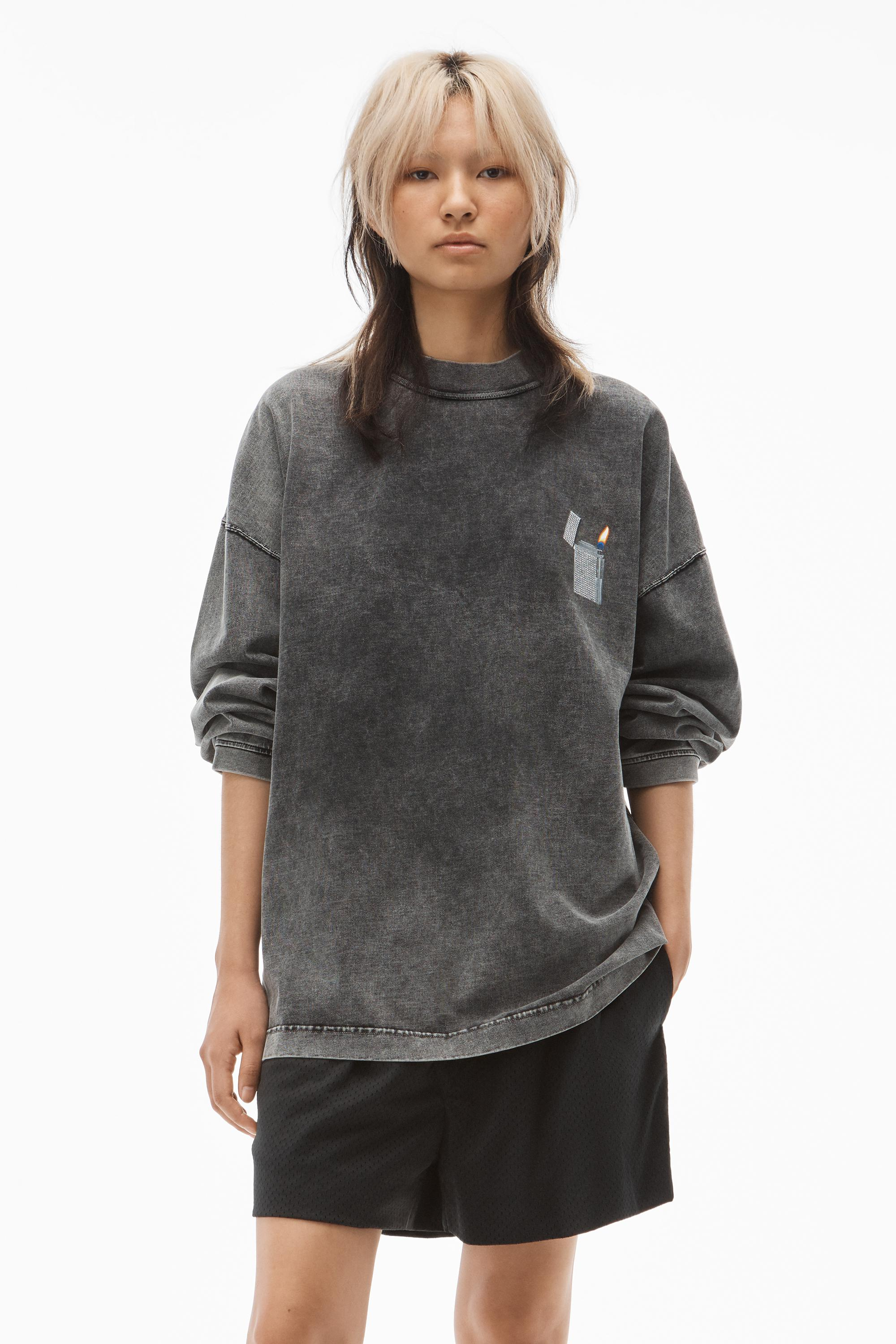 long-sleeve lighter graphic tee in compact jersey