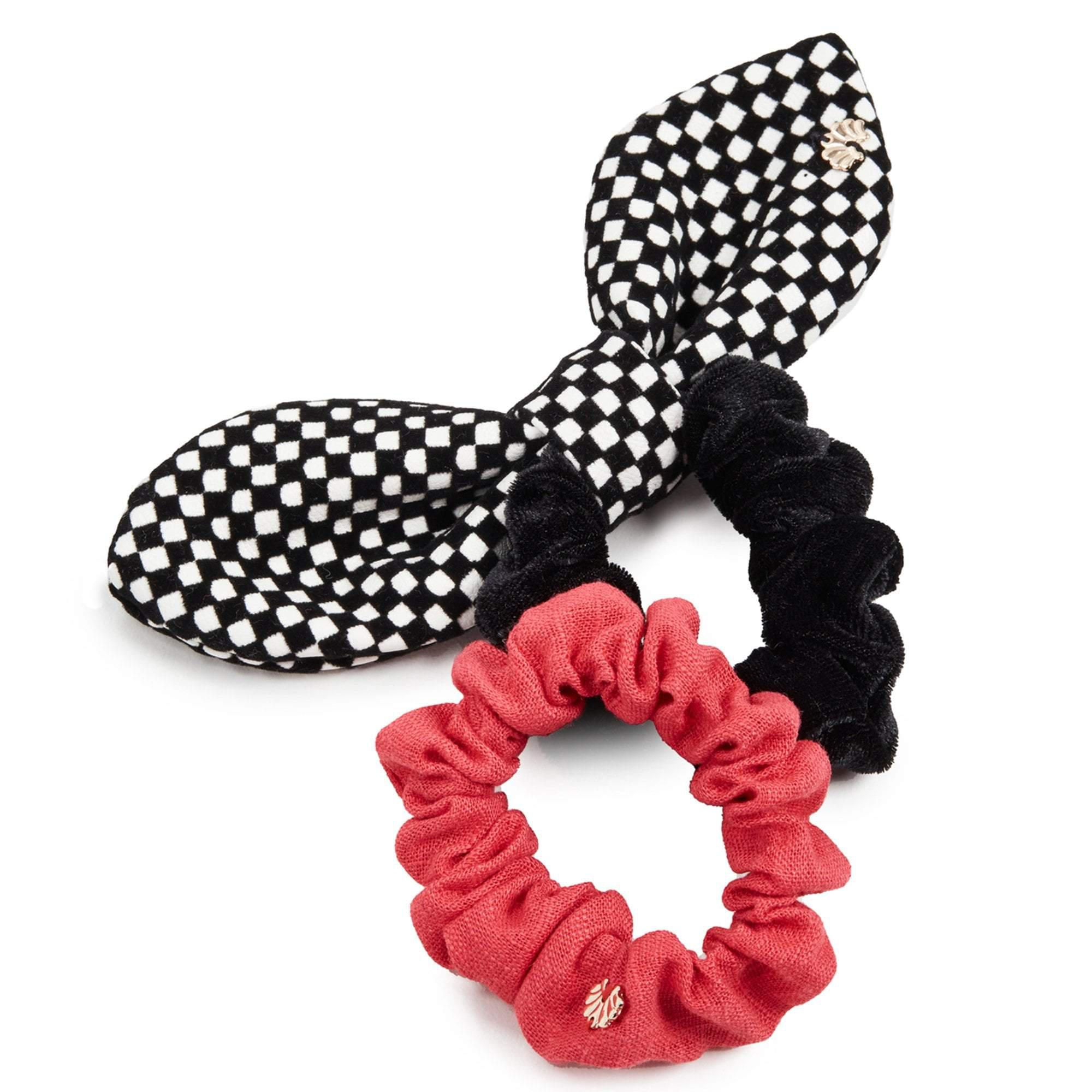 BLACK AND WHITE MIXED SET OF 2 SCRUNCHIES