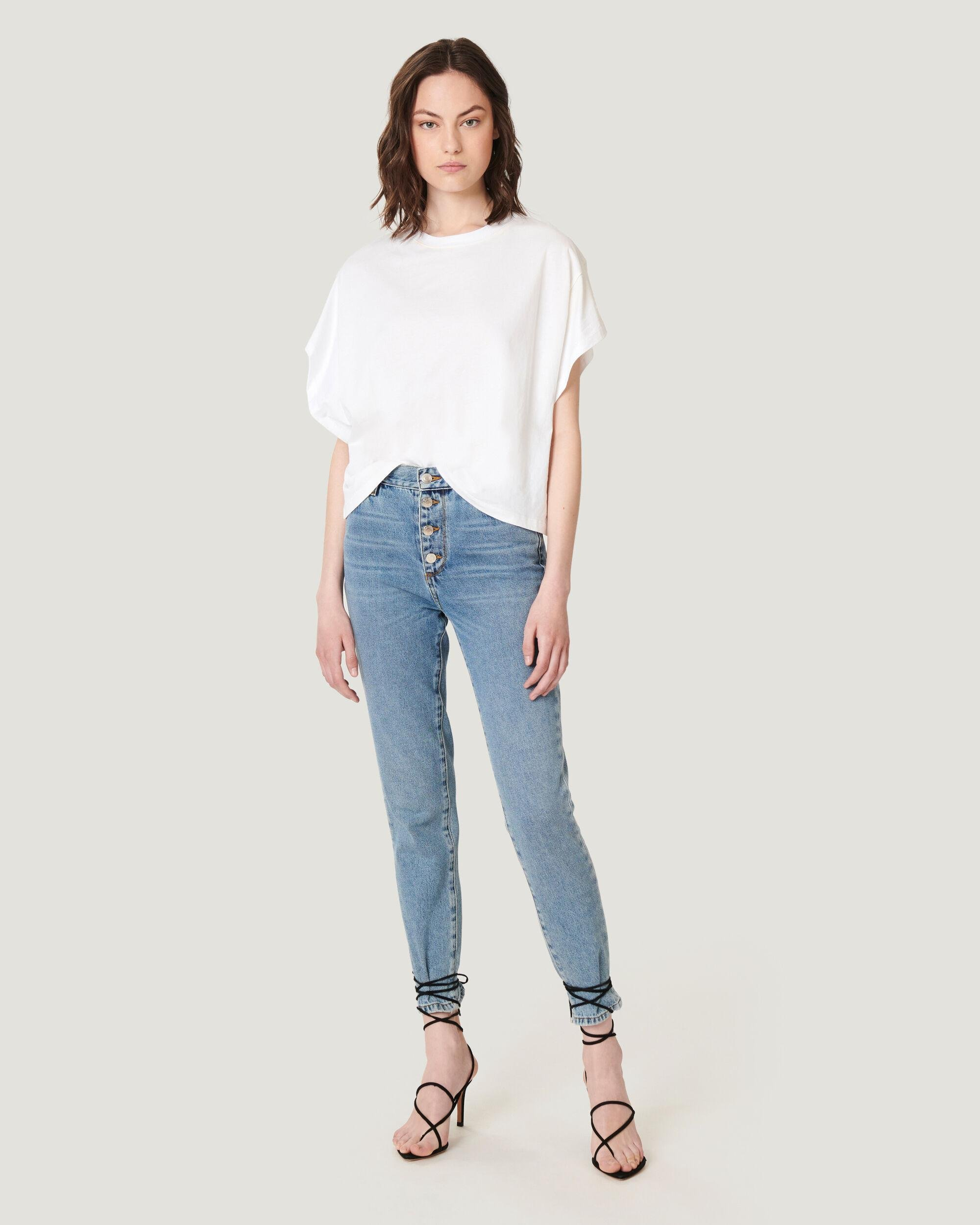 NEVY CROPPED BUTTON SKINNY JEANS