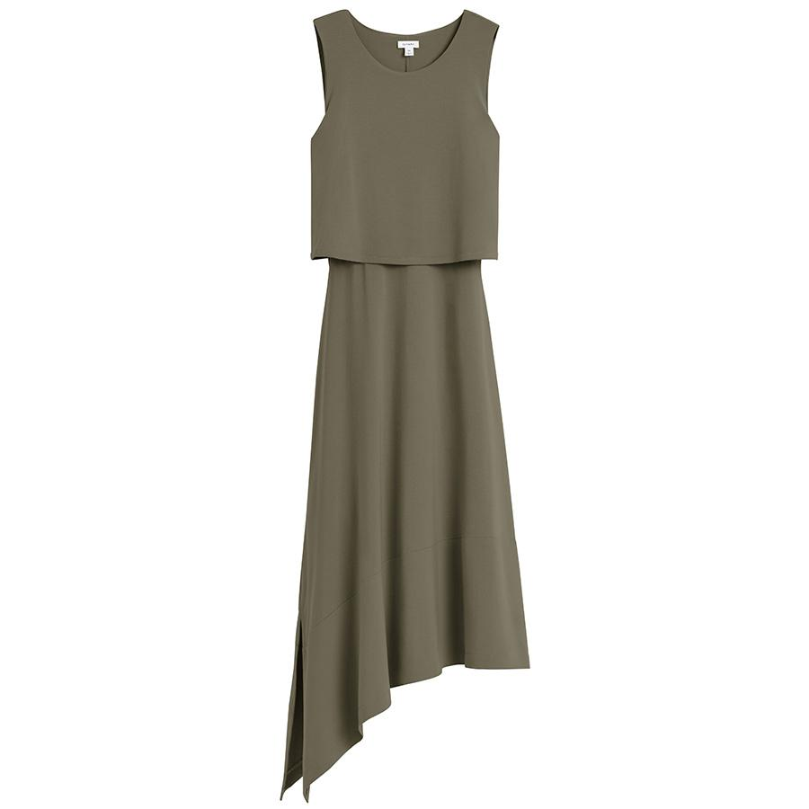 Women's Asymmetrical Overlay Dress in Olive | Size: Small | Organic Pima Cotton by Cuyana 0