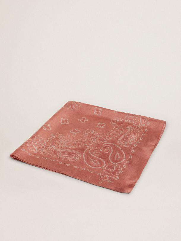 Old-rose-colored Golden Collection scarf with paisley pattern