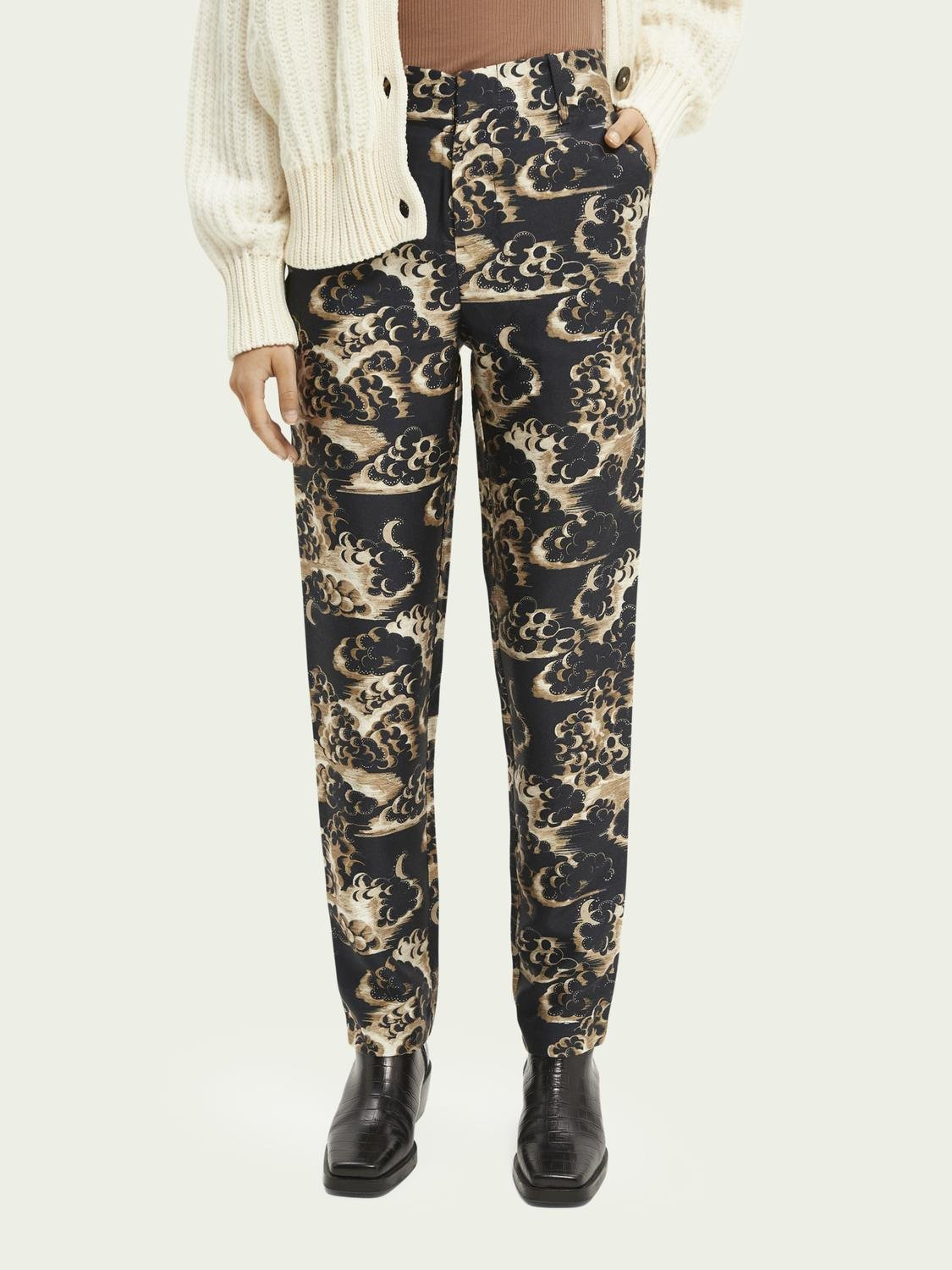 Printed tapered mid-rise trousers 0
