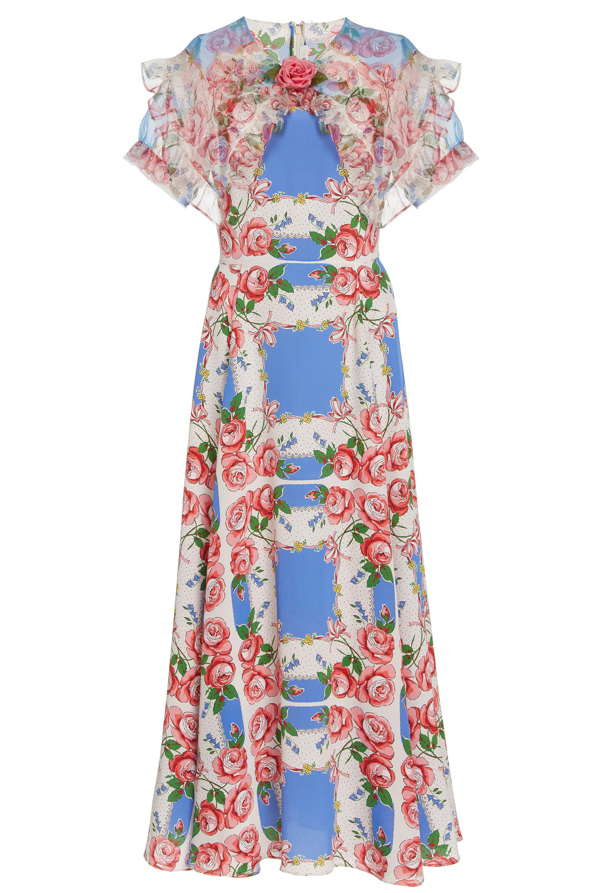 FLORAL PRINTED SILK DRESS WITH RUFFLE COLLAR 4