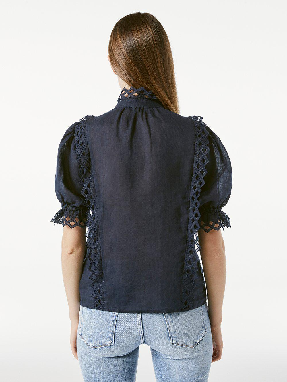 Embroidered High Neck Short Sleeve -- Navy 4