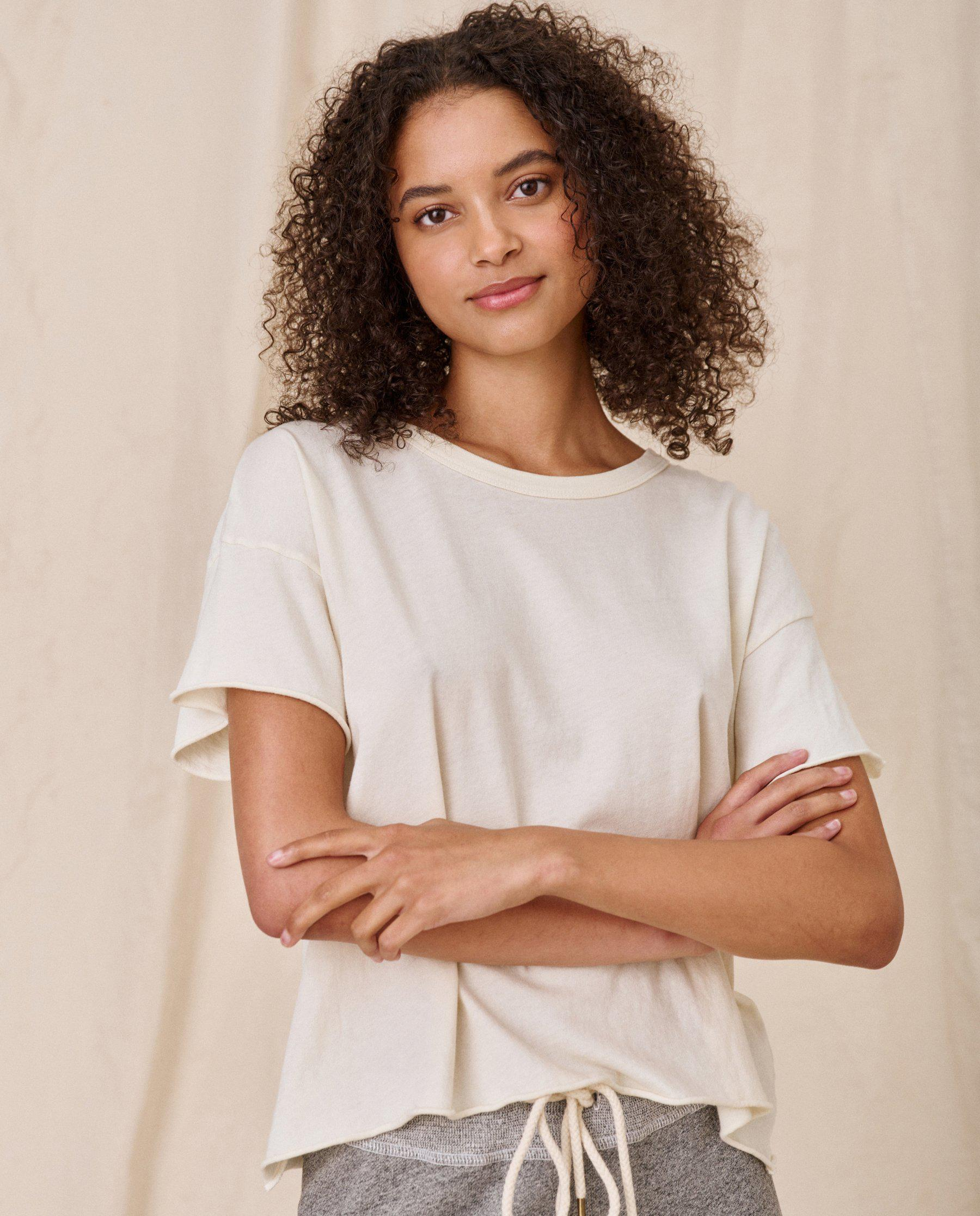 The Crop Tee. Solid -- WASHED WHITE