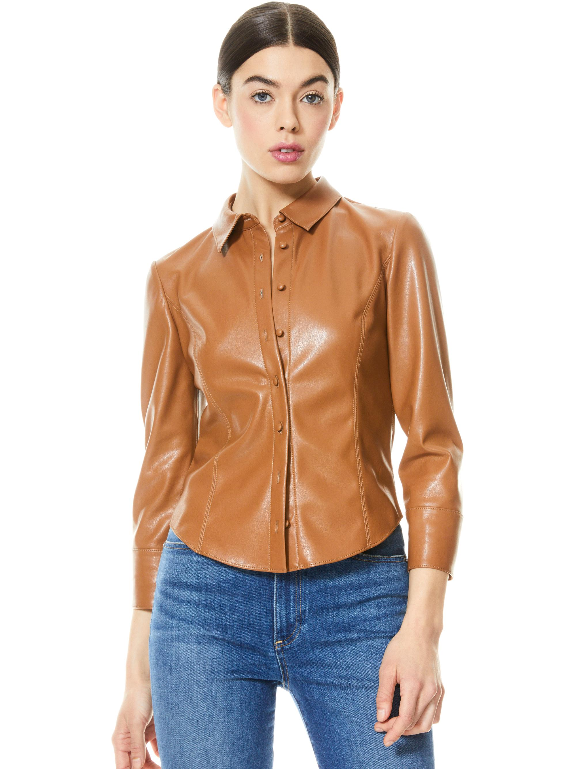 NADINE VEGAN LEATHER BUTTON DOWN