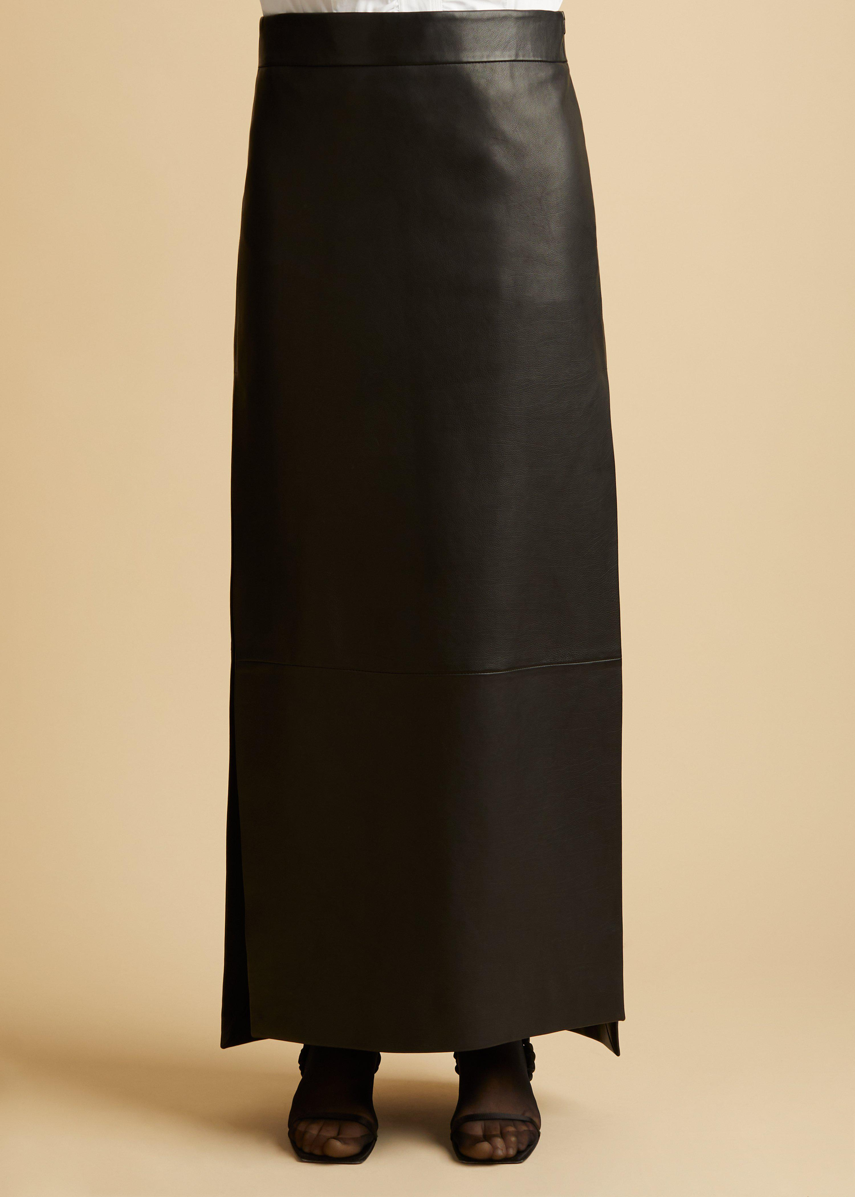 The Myla Skirt in Black Leather 1