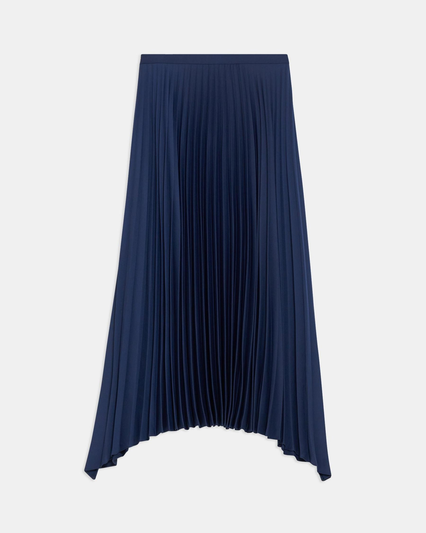 Pleated Skirt in Satin Crepe 5