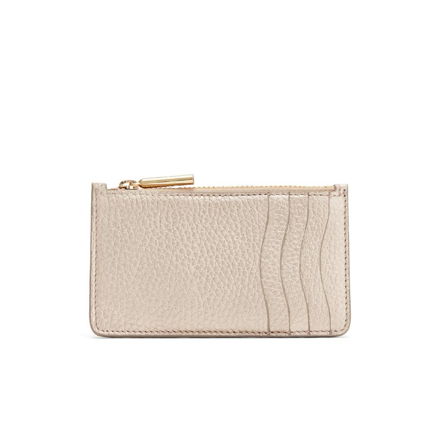 Women's Zip Cardholder in Champagne | Shimmer Leather by Cuyana
