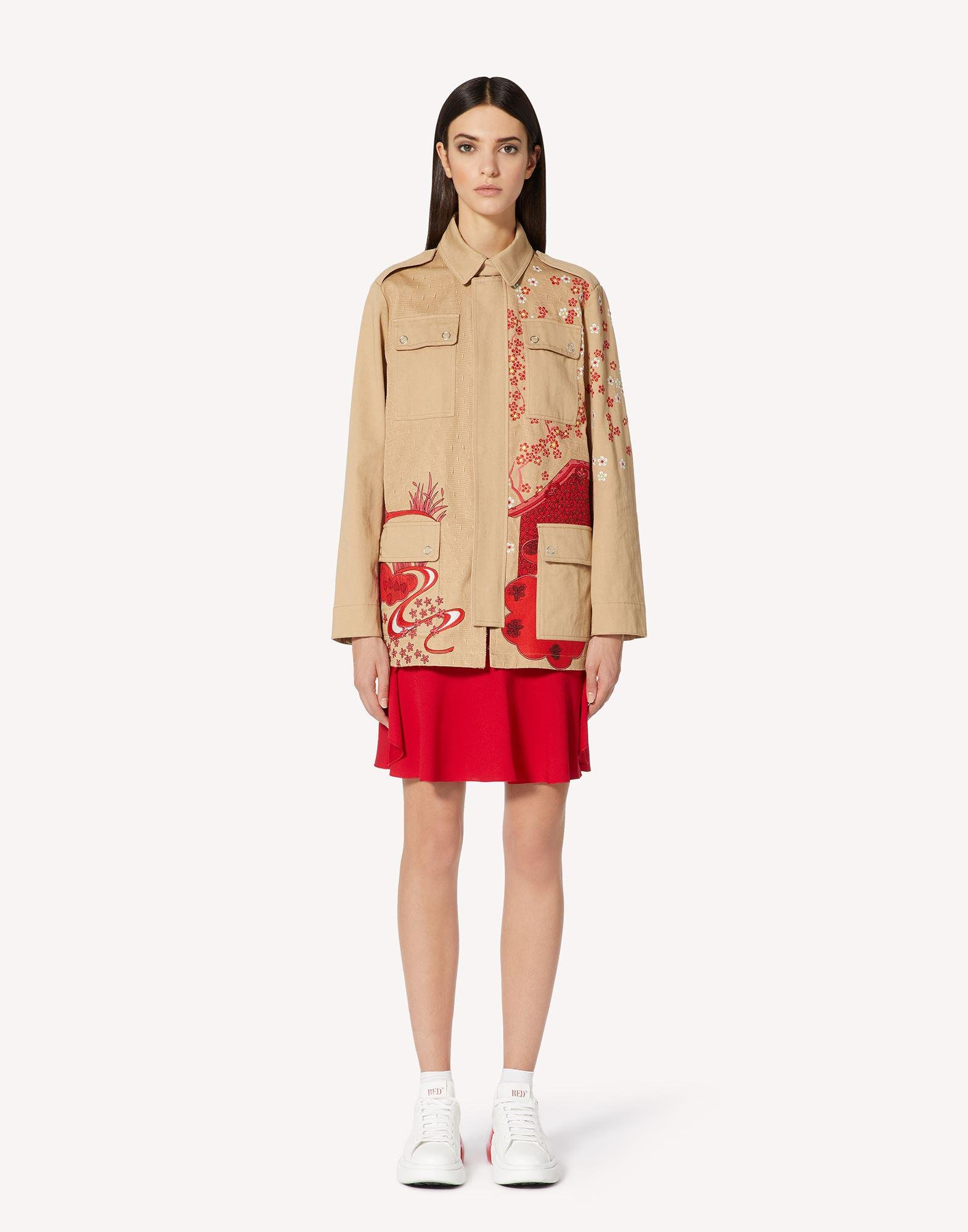 ASIAN TOILE DE JOUY EMBROIDERED PEA COAT