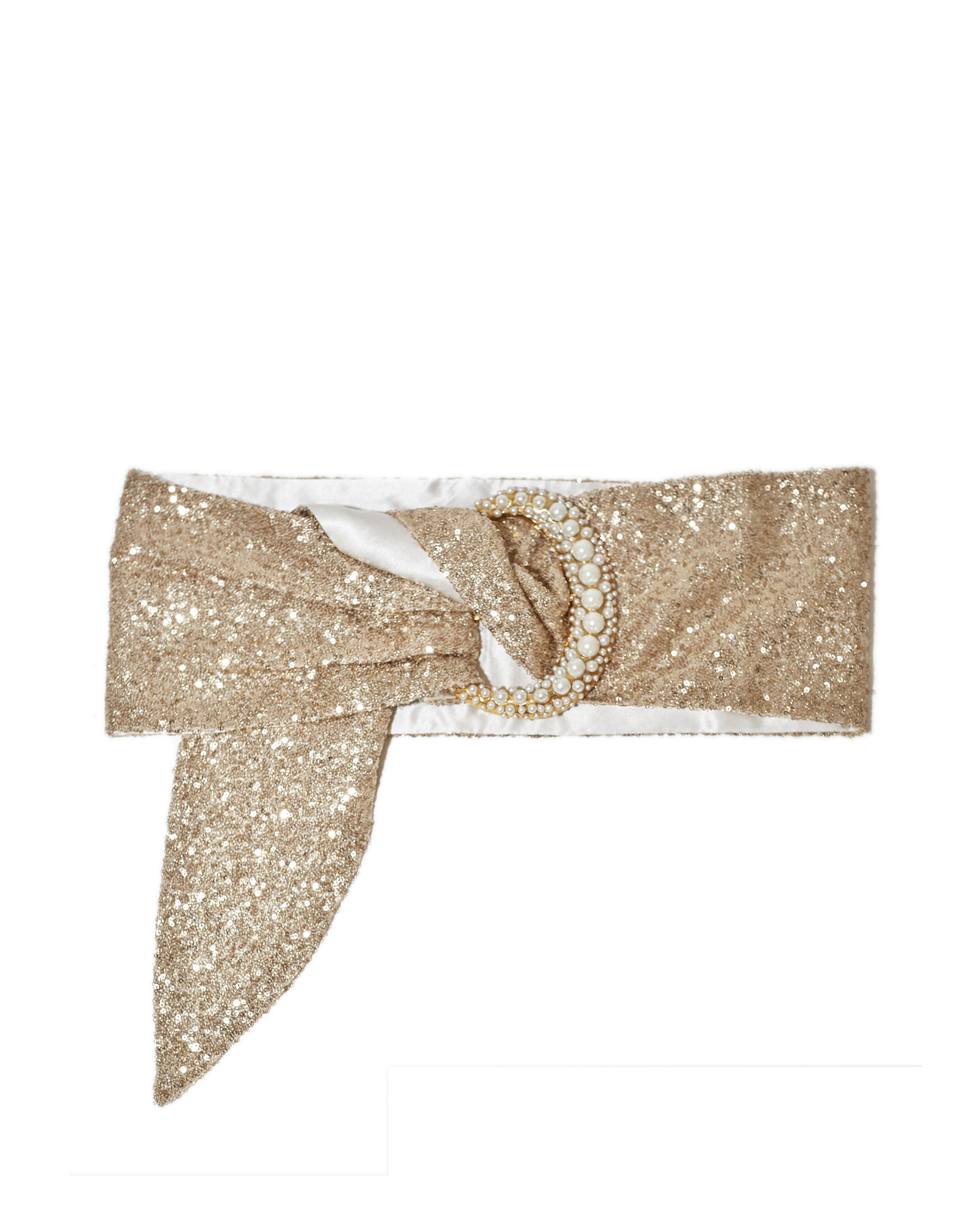 SEQUIN BELT WITH PEARL CRESCENT BUCKLE