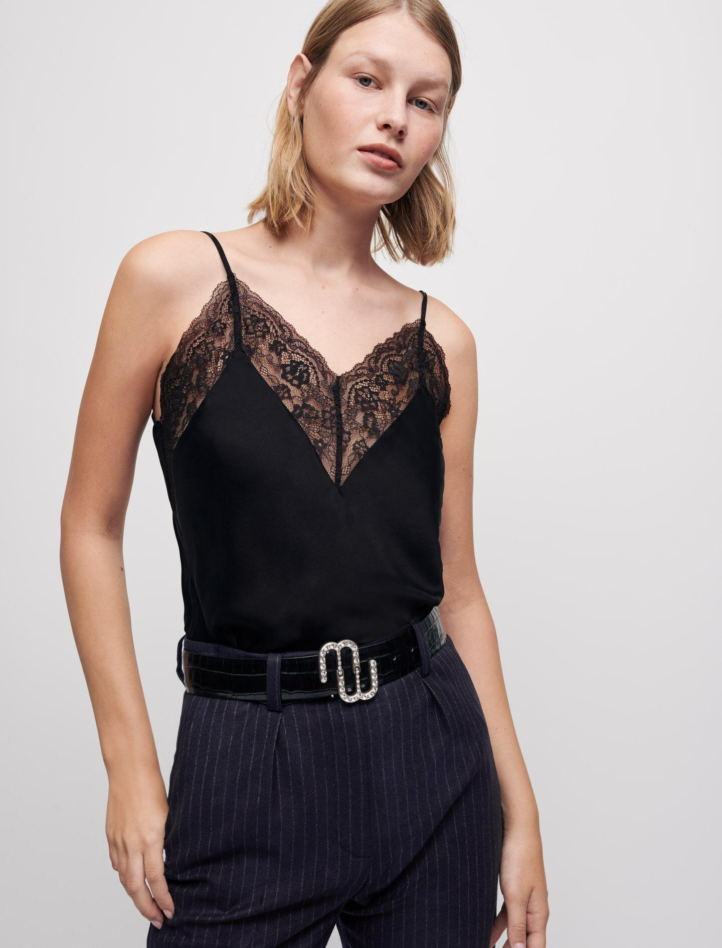 SILK SATIN AND LACE TOP