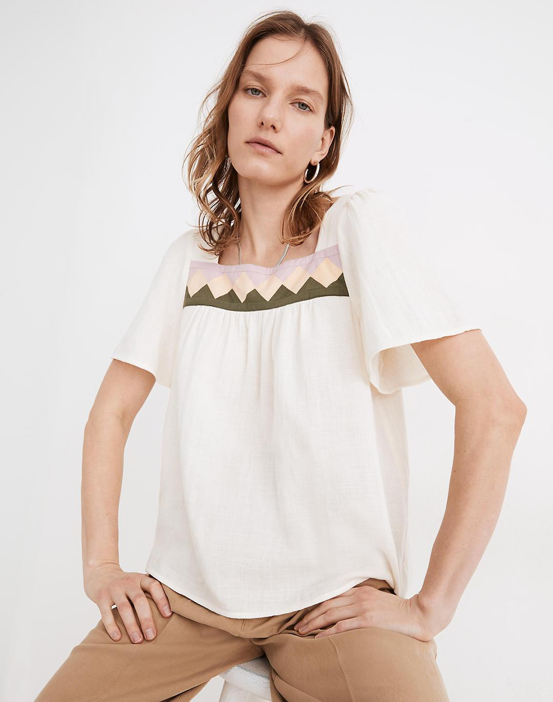 Patchwork Square-Neck Top
