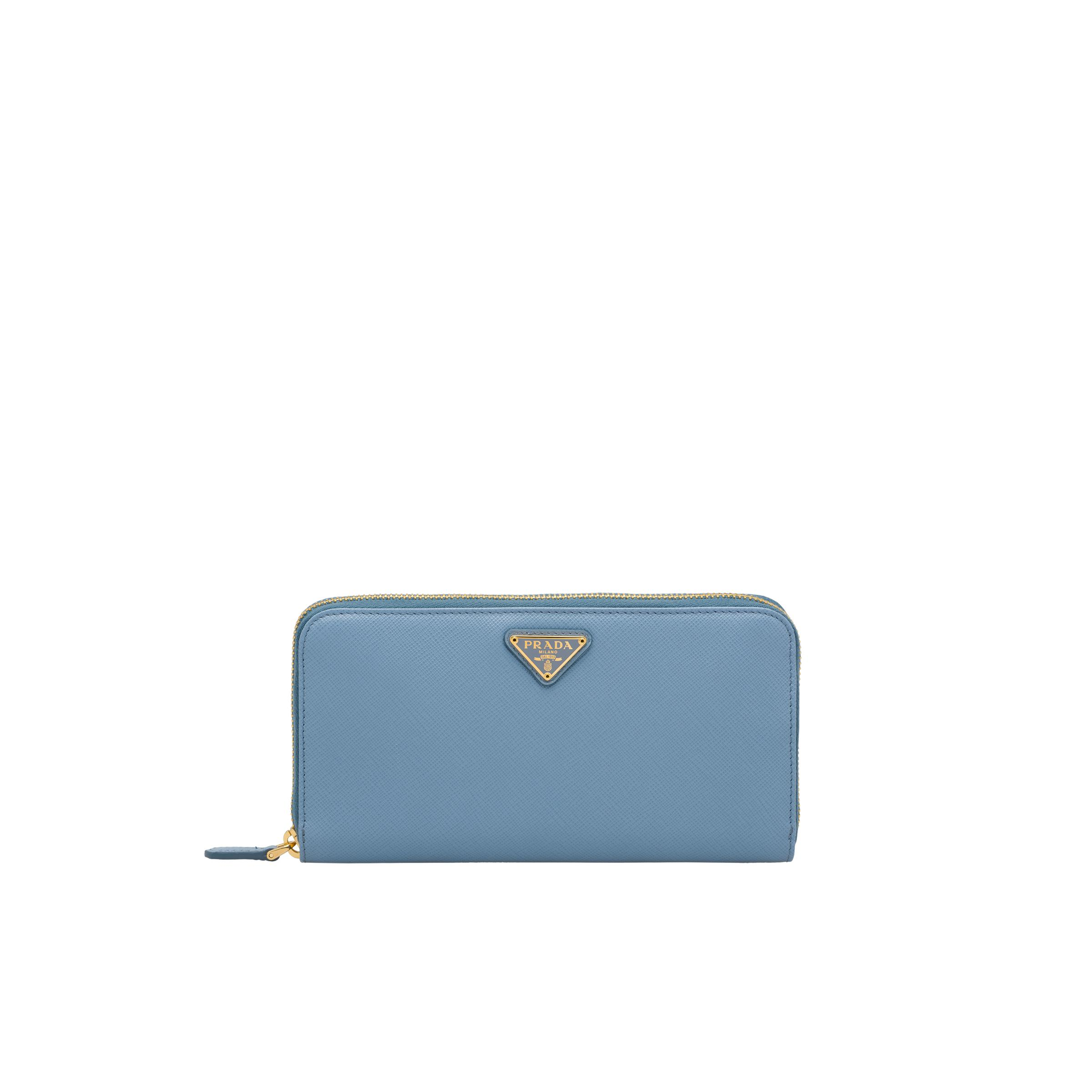 Large Saffiano Leather Wallet Women Astral Blue
