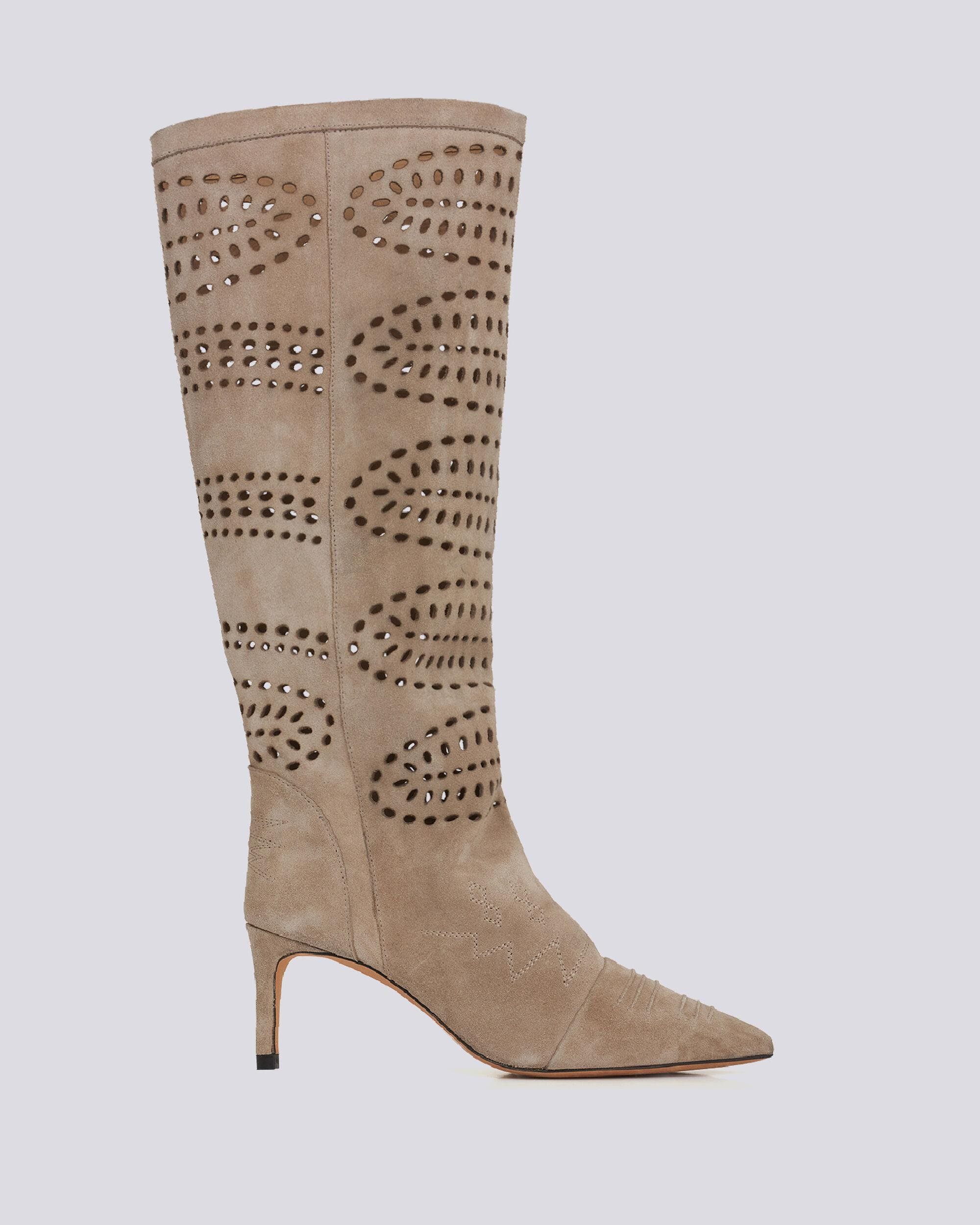 HORSE POINTED TOE PERFORED HIGH BOOTS